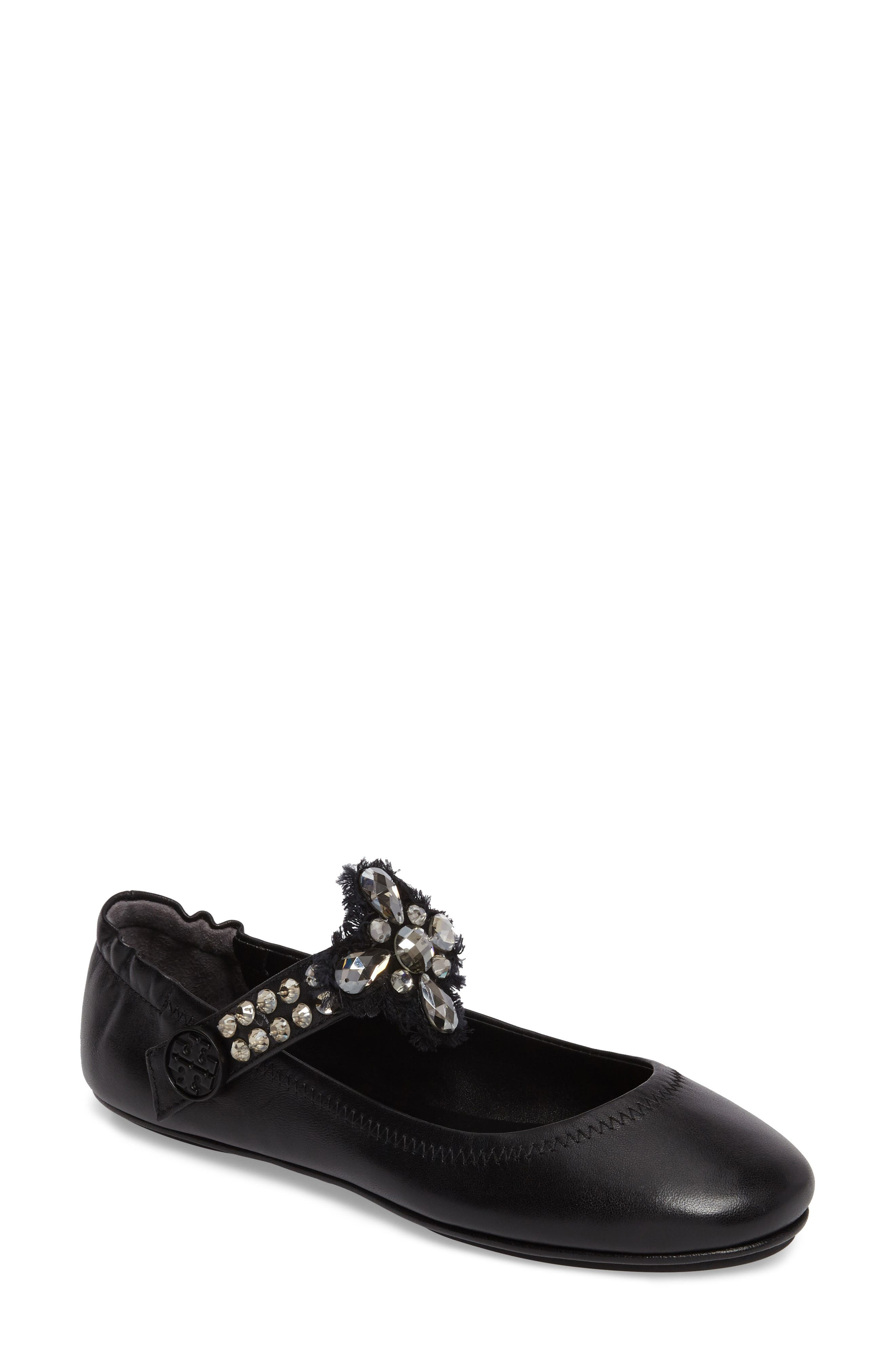 Minnie Embellished Convertible Strap Ballet Flat,                             Main thumbnail 1, color,                             Black/ Clear
