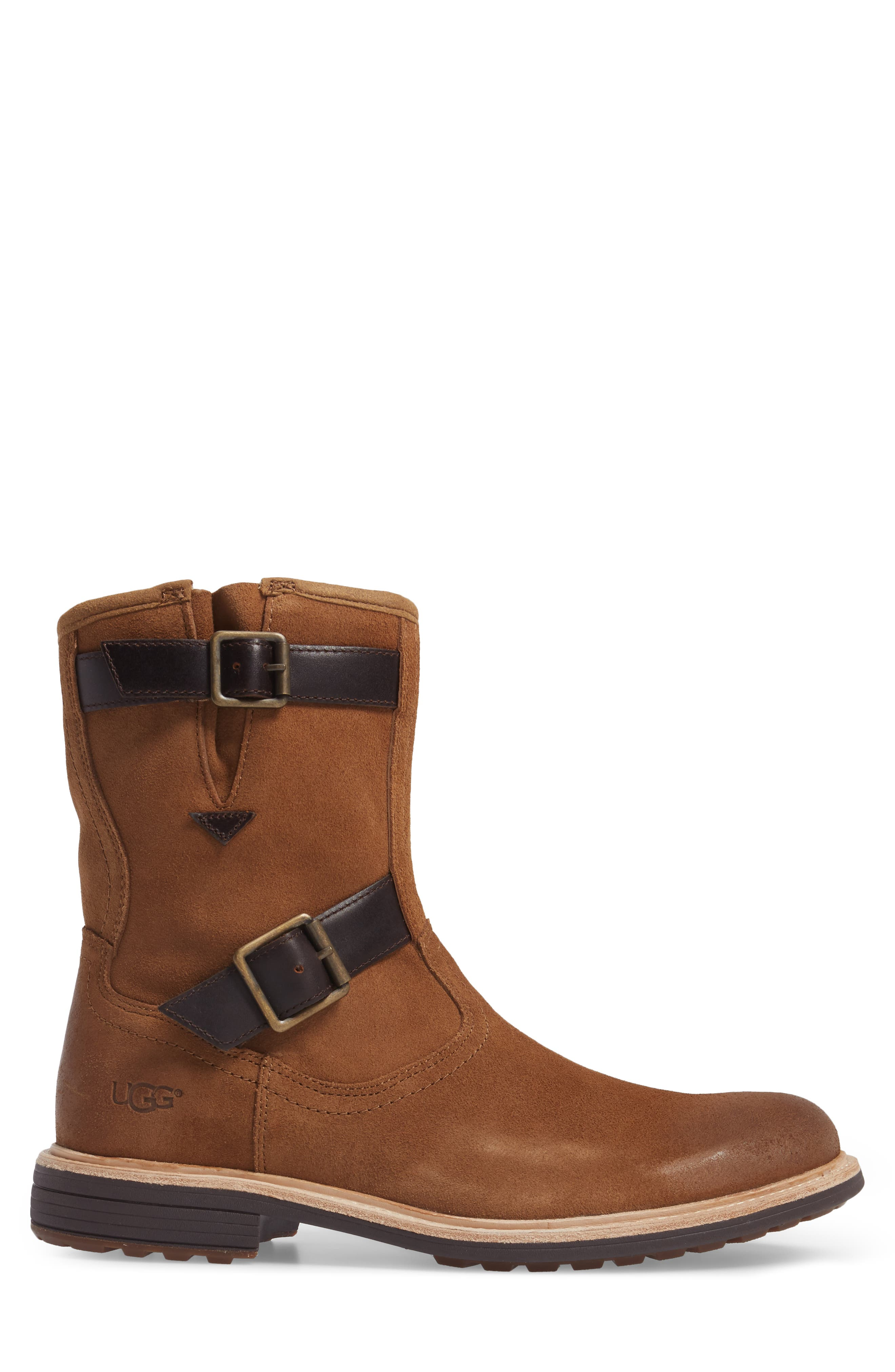 Jaren Zip Boot with Genuine Shearling,                             Alternate thumbnail 3, color,                             Chestnut