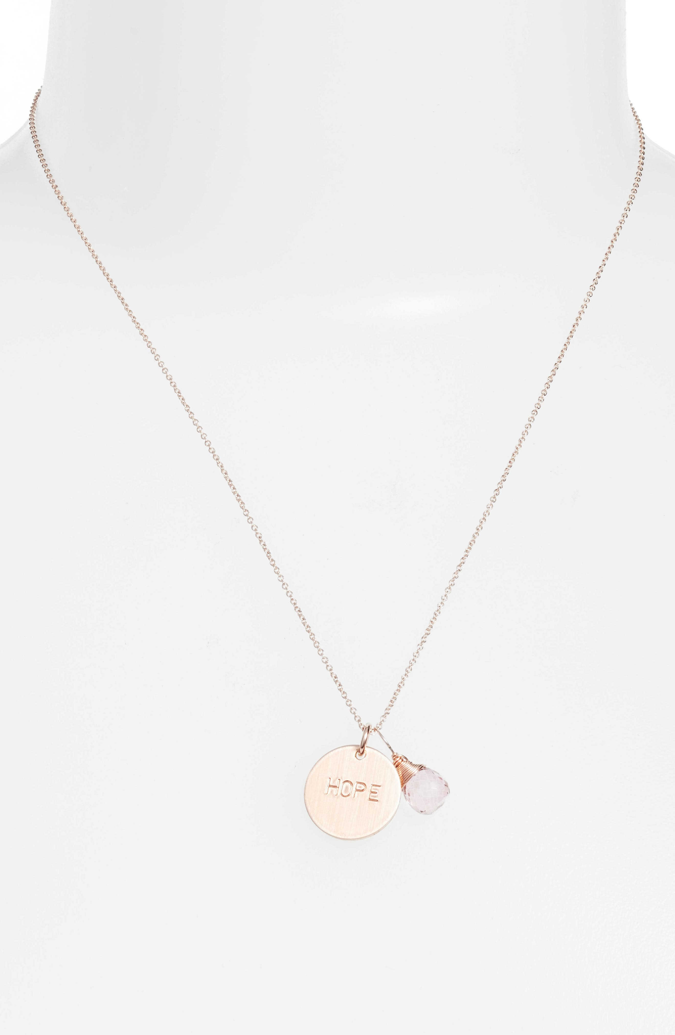 Pink Topaz & Hope Disc Necklace,                             Main thumbnail 1, color,                             Rose Gold