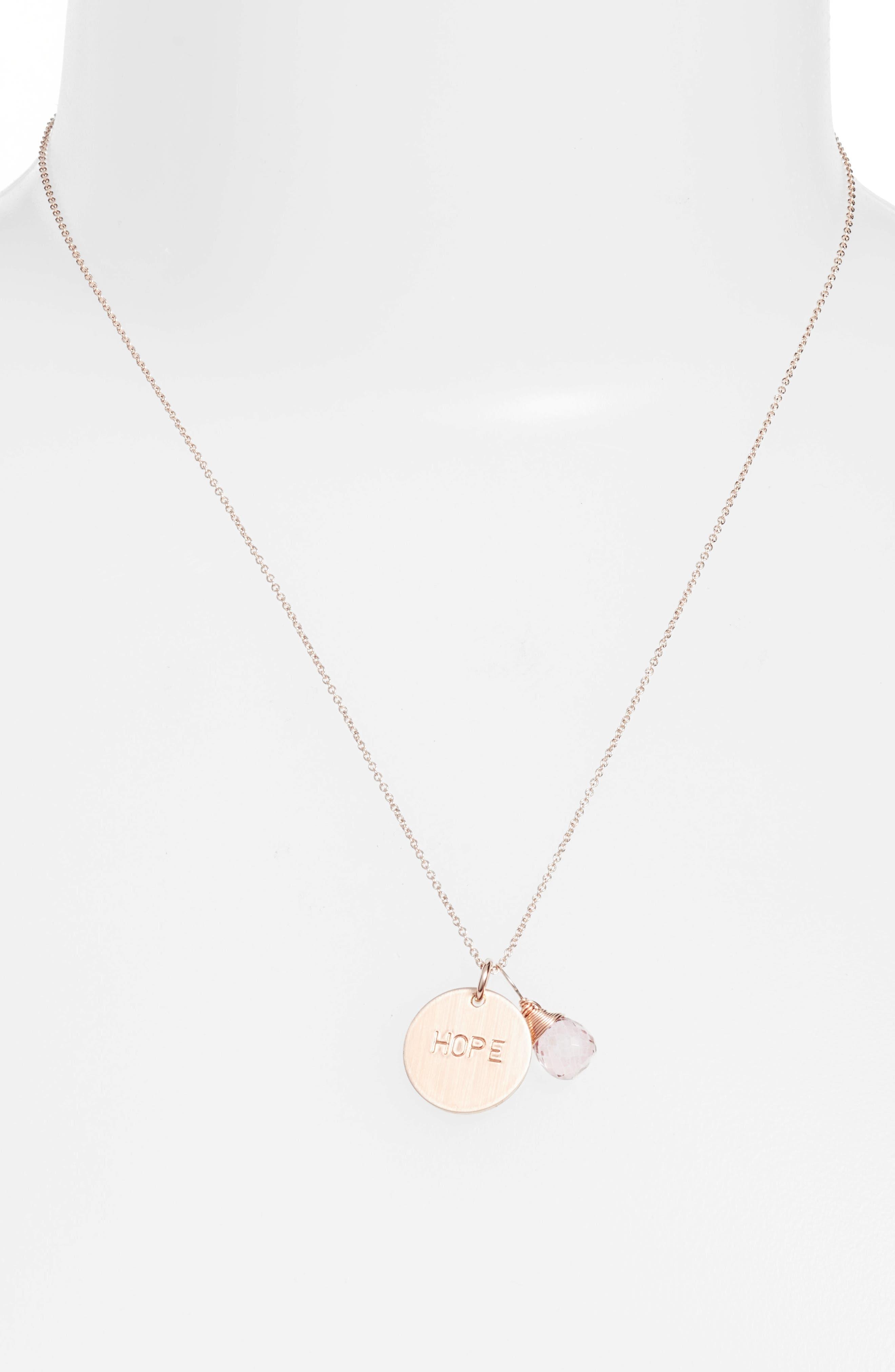 Pink Topaz & Hope Disc Necklace,                         Main,                         color, Rose Gold