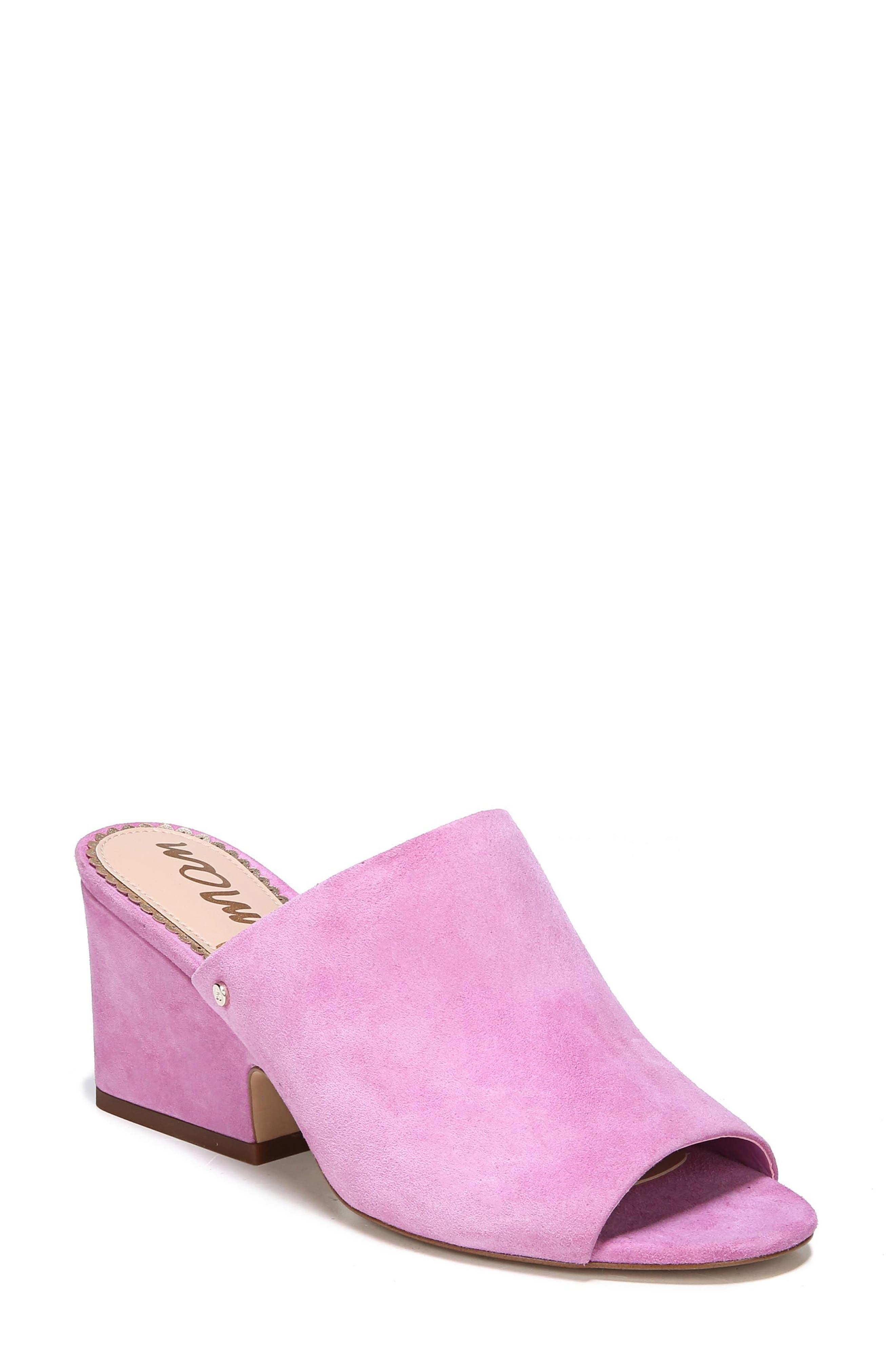 Rheta Mule,                             Main thumbnail 1, color,                             Fiji Pink Suede