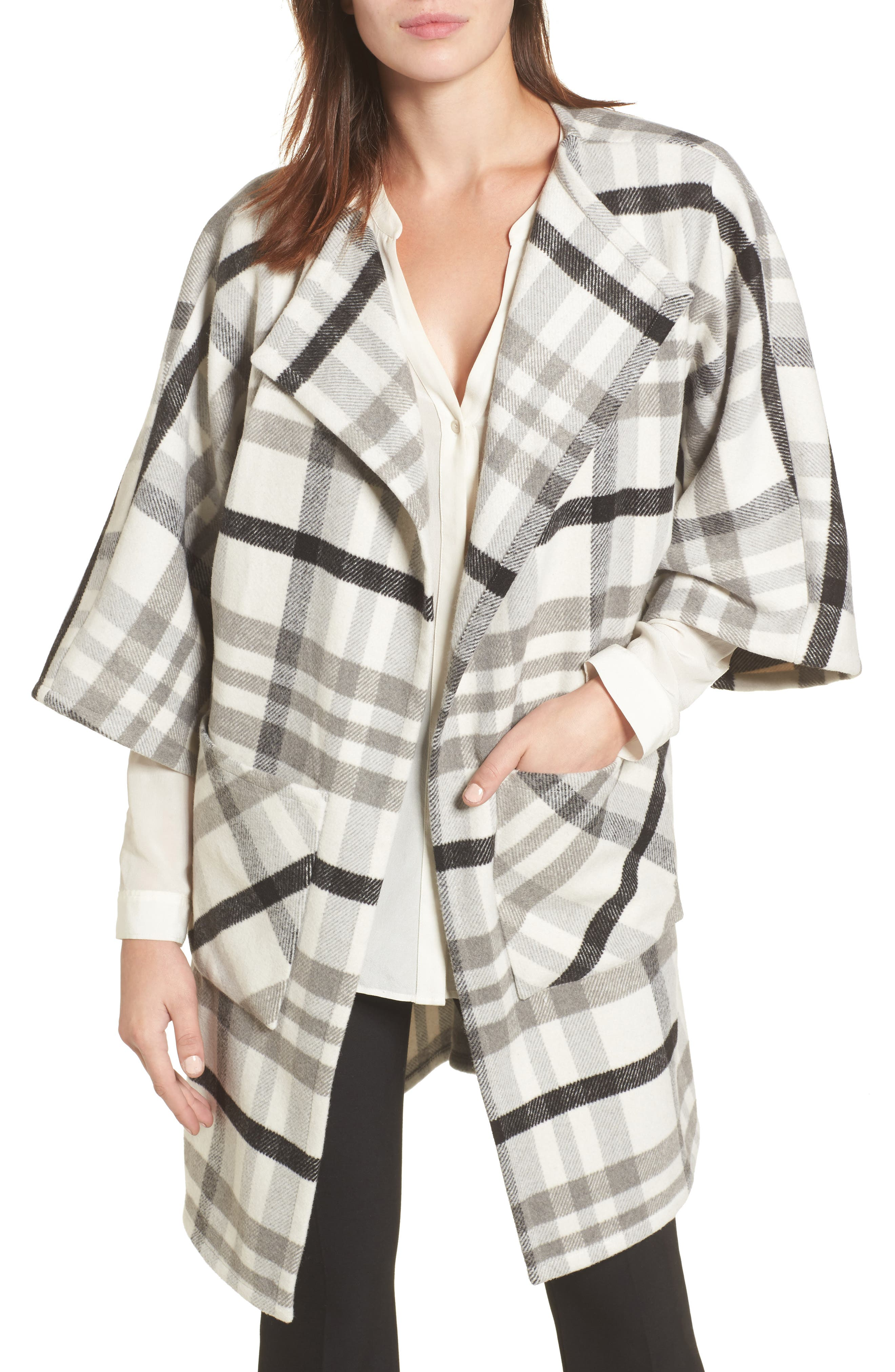 Woven Plaid Wrap,                             Main thumbnail 1, color,                             Ivory Combo