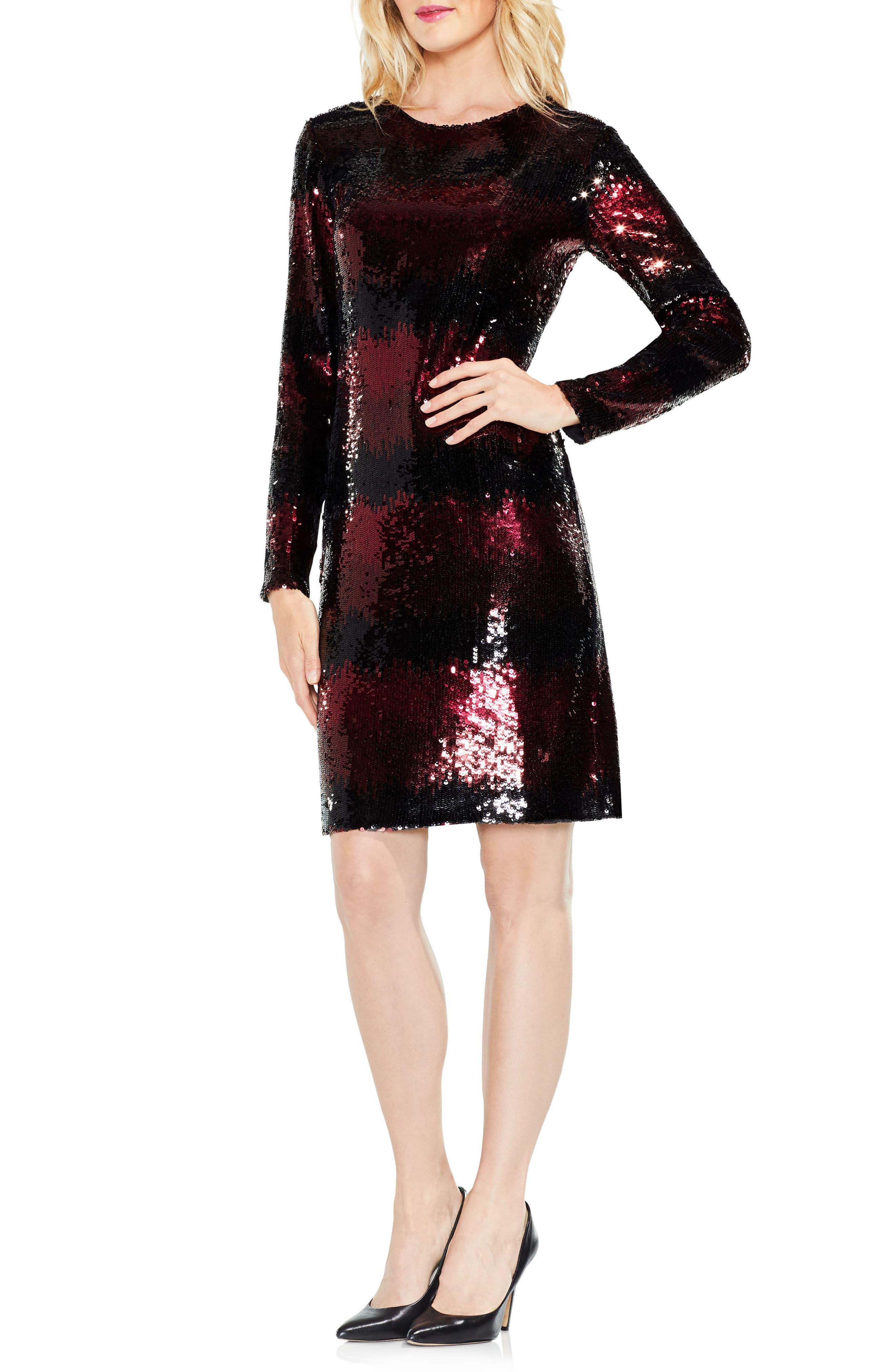 Ombré Sequin Dress,                             Alternate thumbnail 3, color,                             Cherry Noir