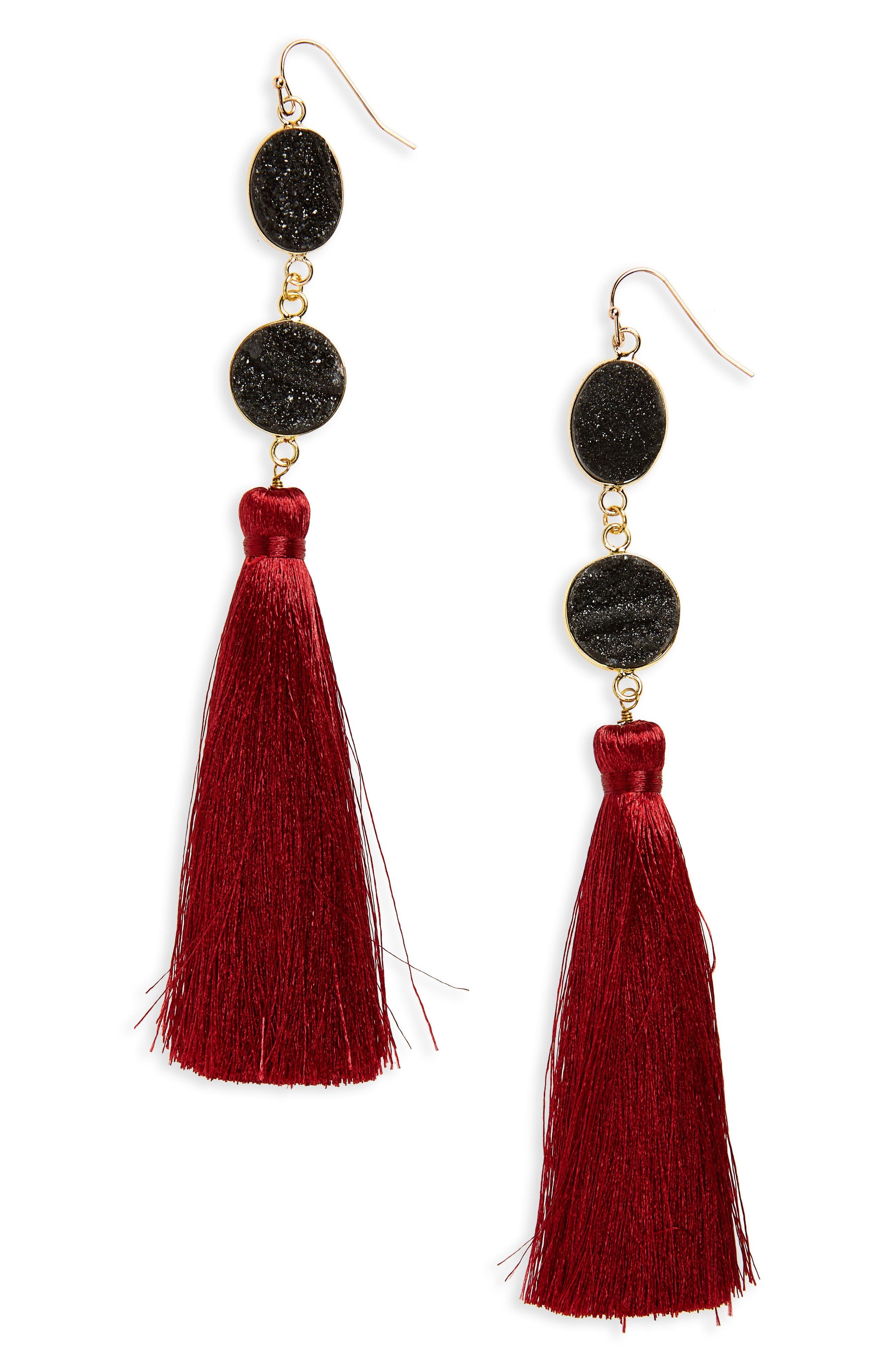 Drusy Quartz Tassel Earrings,                         Main,                         color, Multi