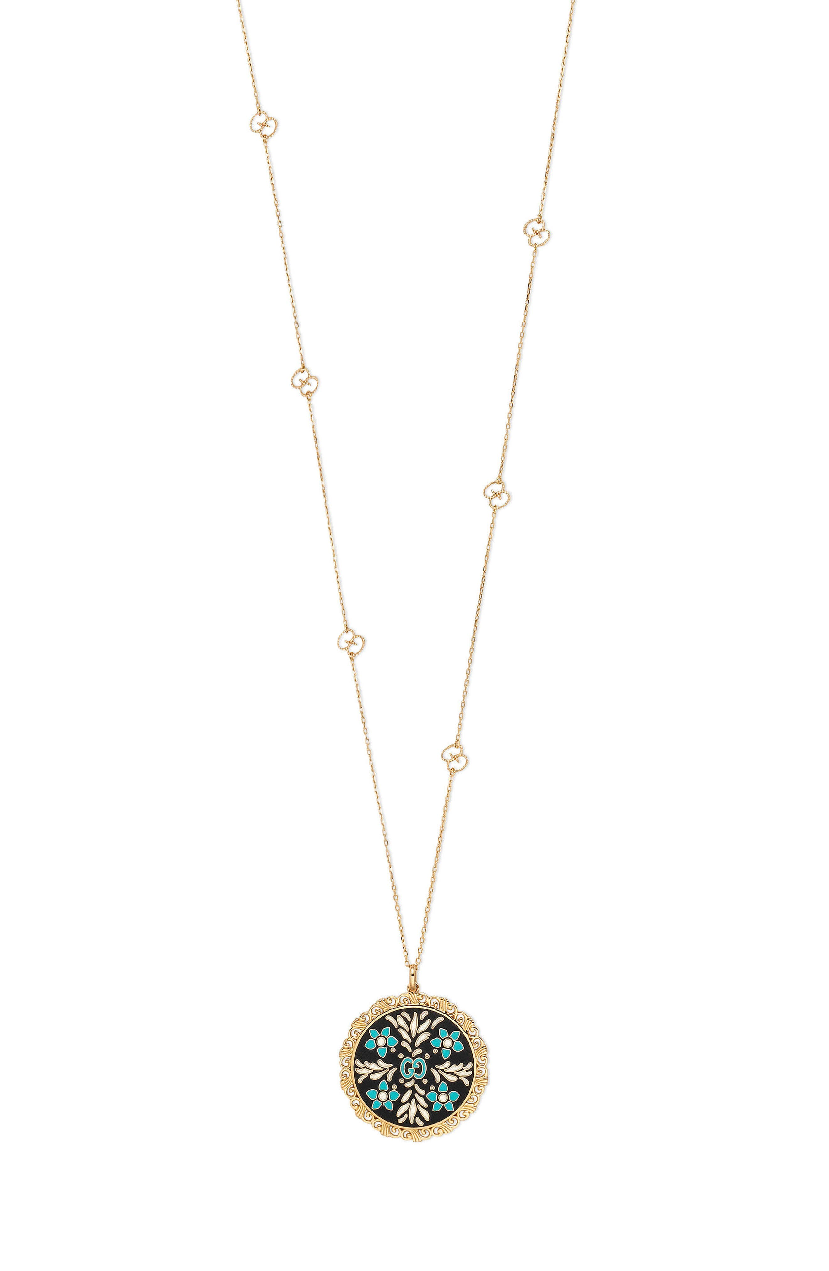 Icon Blooms Enamel Pendant Necklace,                             Main thumbnail 1, color,                             Yellow Gold