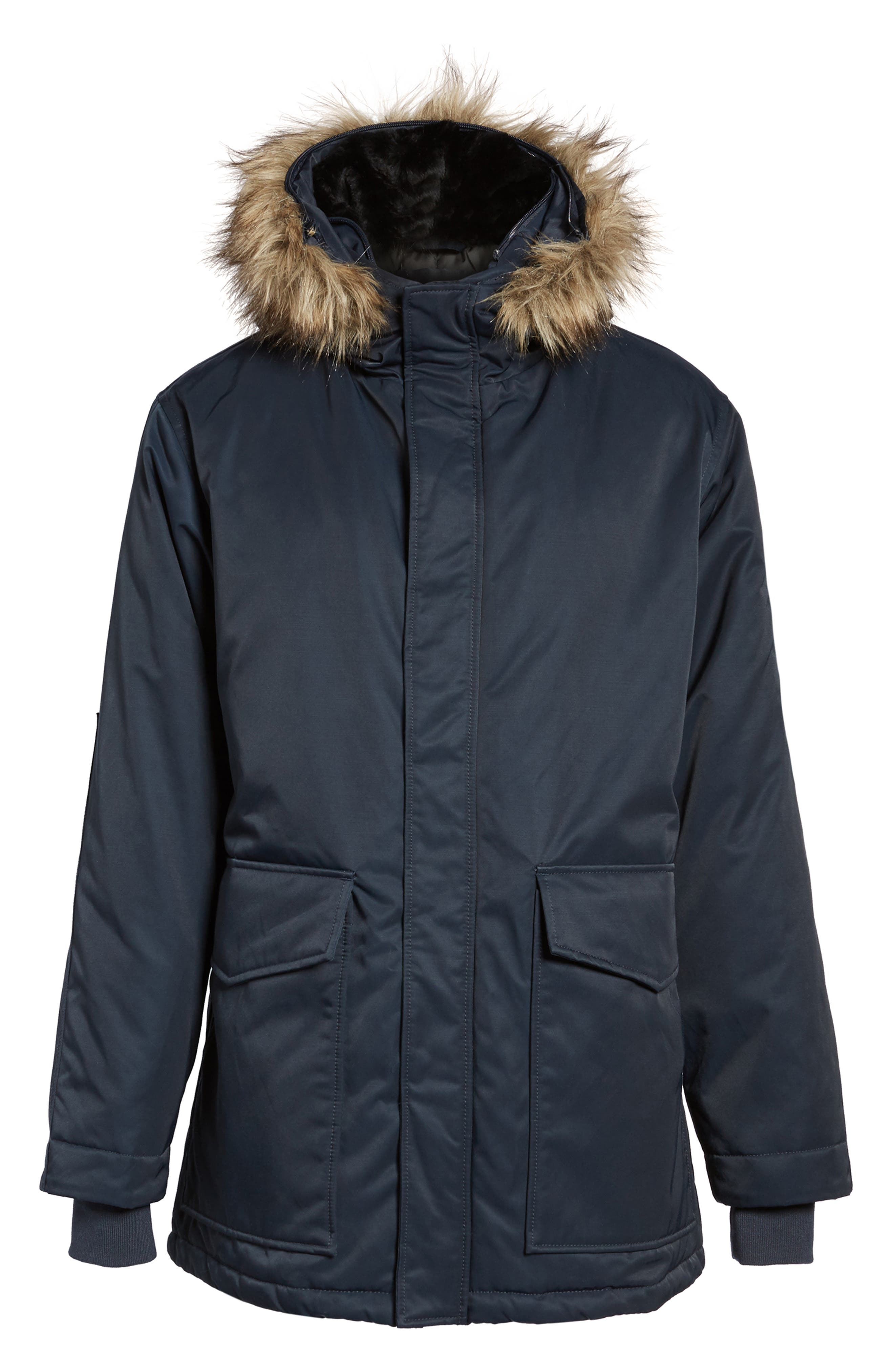 Bystander Hooded Parka with Faux Fur Trim,                             Alternate thumbnail 6, color,                             Marine Blue