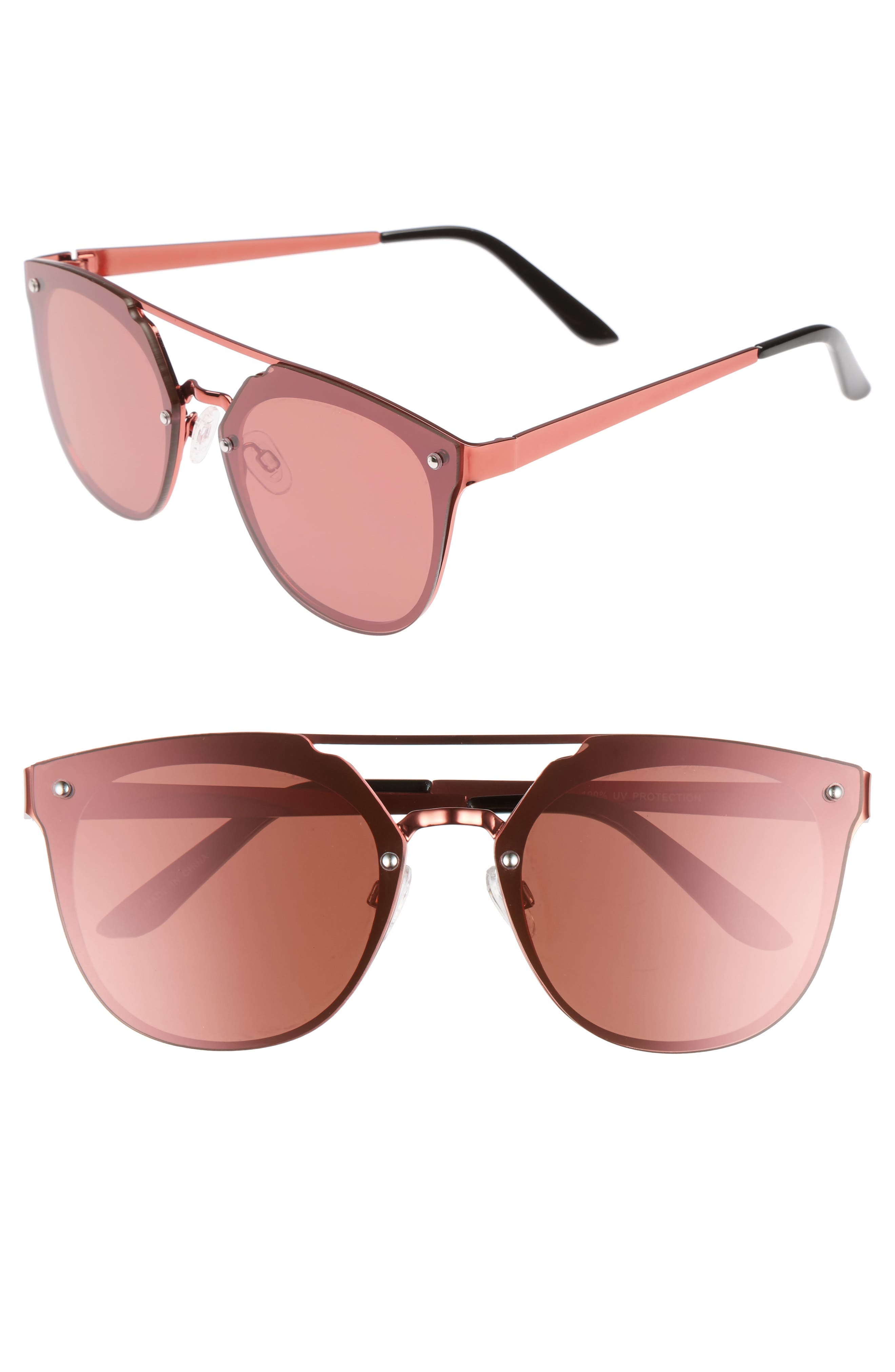 Mirrored Aviator Sunglasses,                             Main thumbnail 1, color,                             Pink/ Pink