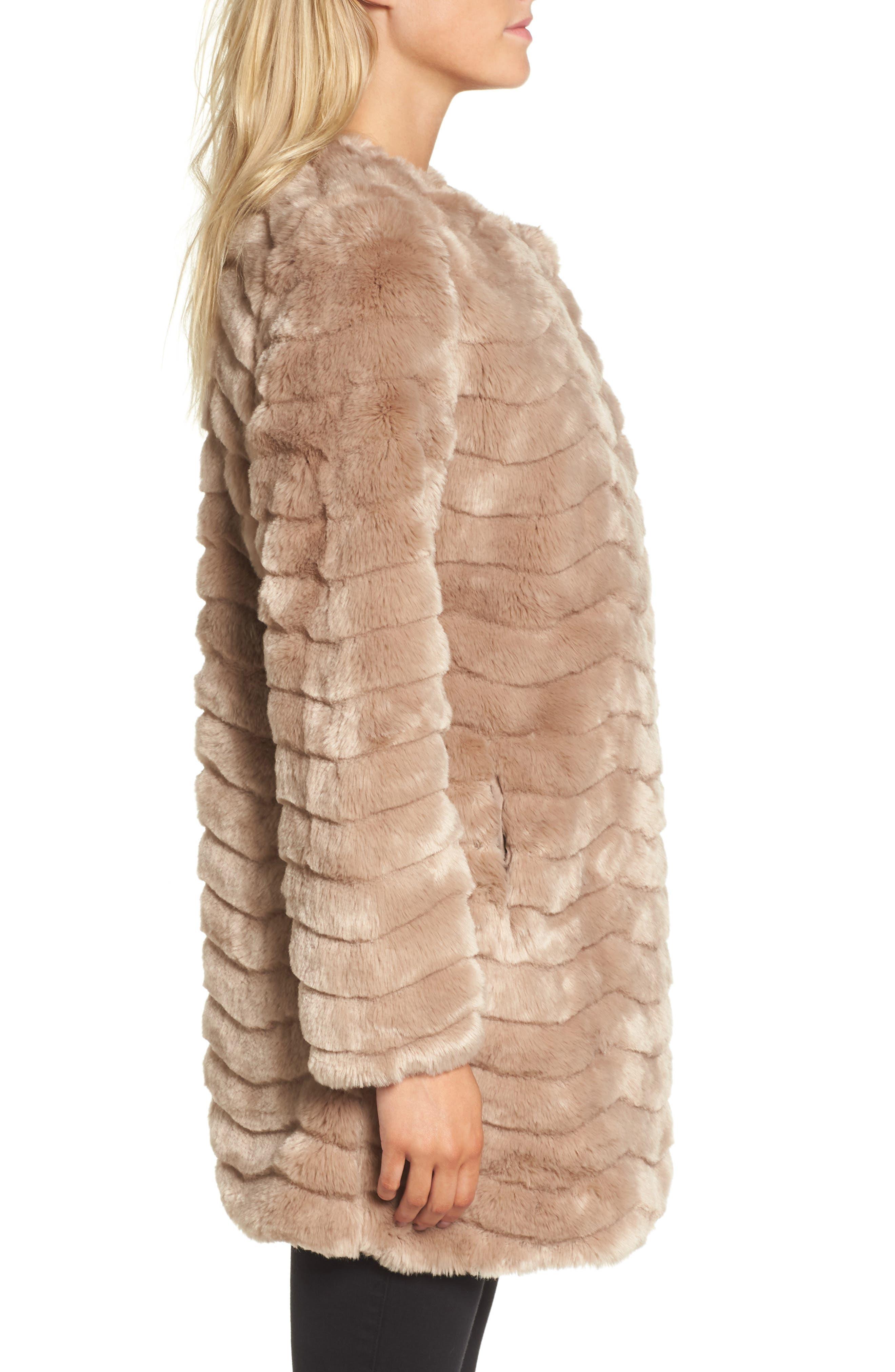 McCoy Faux Fur Coat,                             Alternate thumbnail 3, color,                             Camel