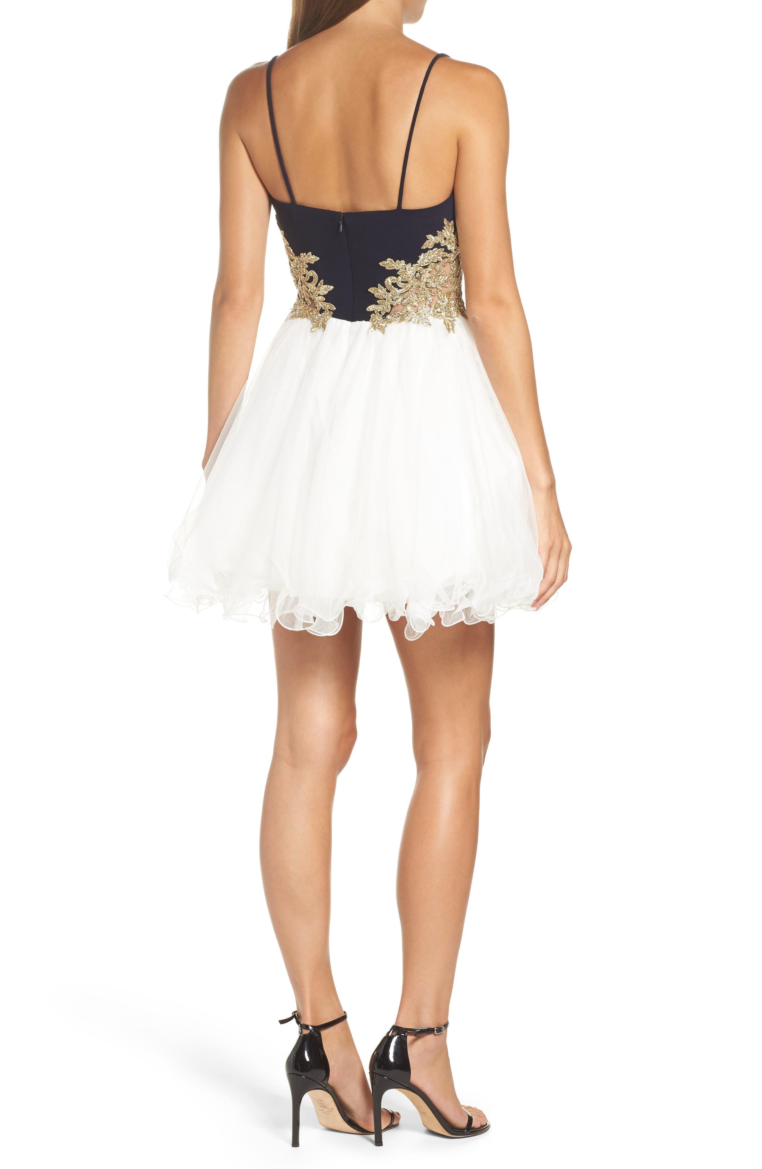 Colorblock Appliqué Skater Dress,                             Alternate thumbnail 2, color,                             Navy/ Ivory/ Gold