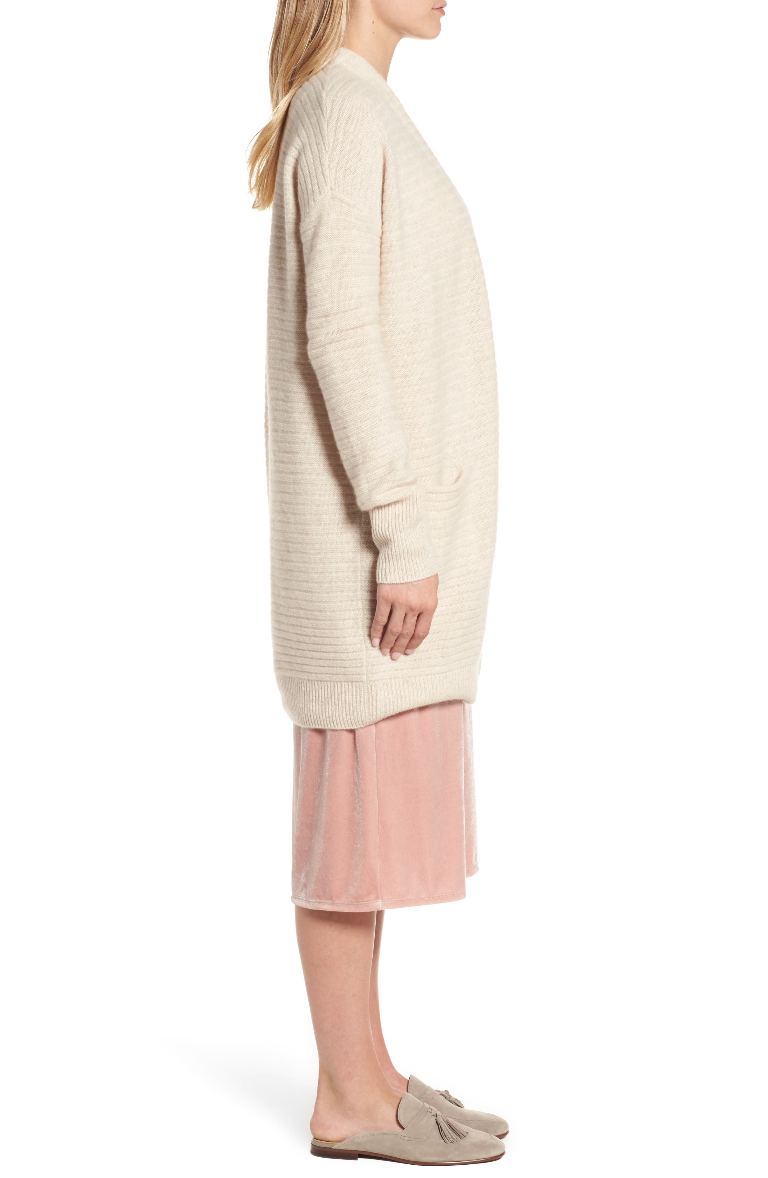 Ribbed Cashmere Cardigan,                             Alternate thumbnail 3, color,                             Heather Oatmeal