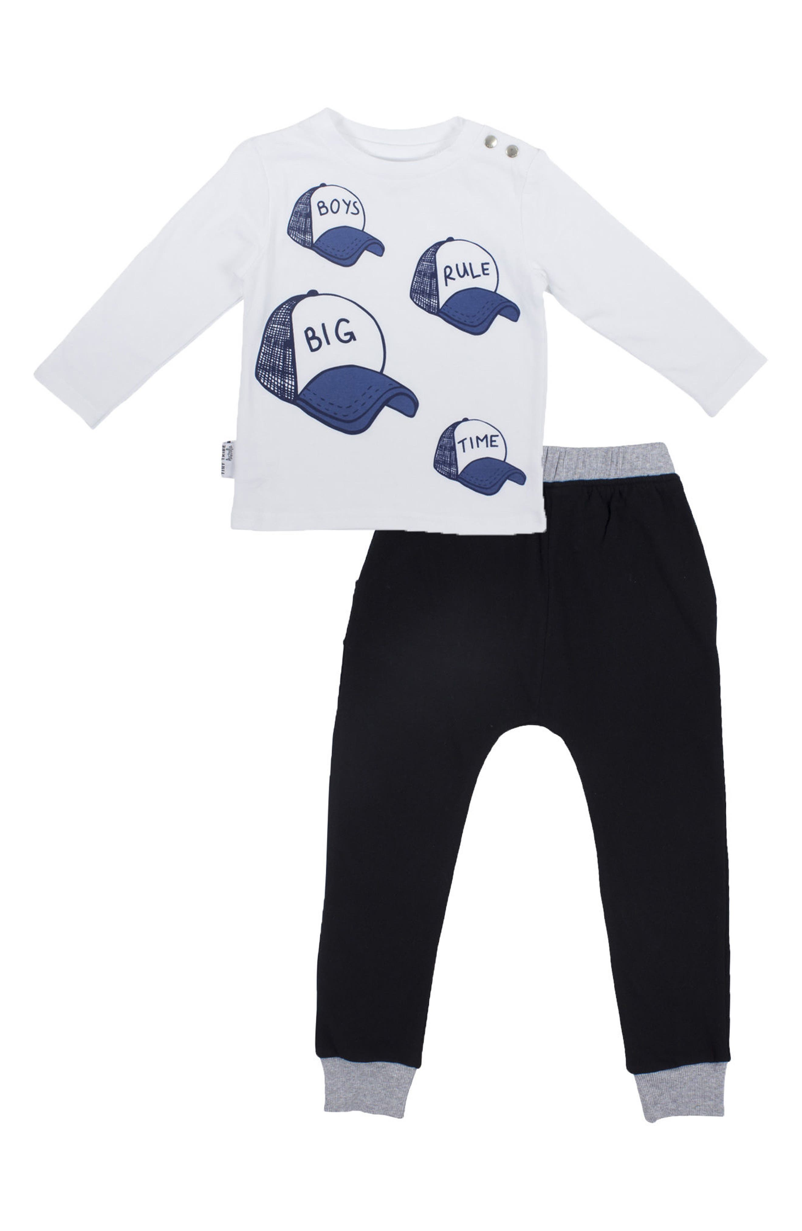 Tiny Tribe Boys Rule Graphic T-Shirt & Sweatpants Set (Little Boys)