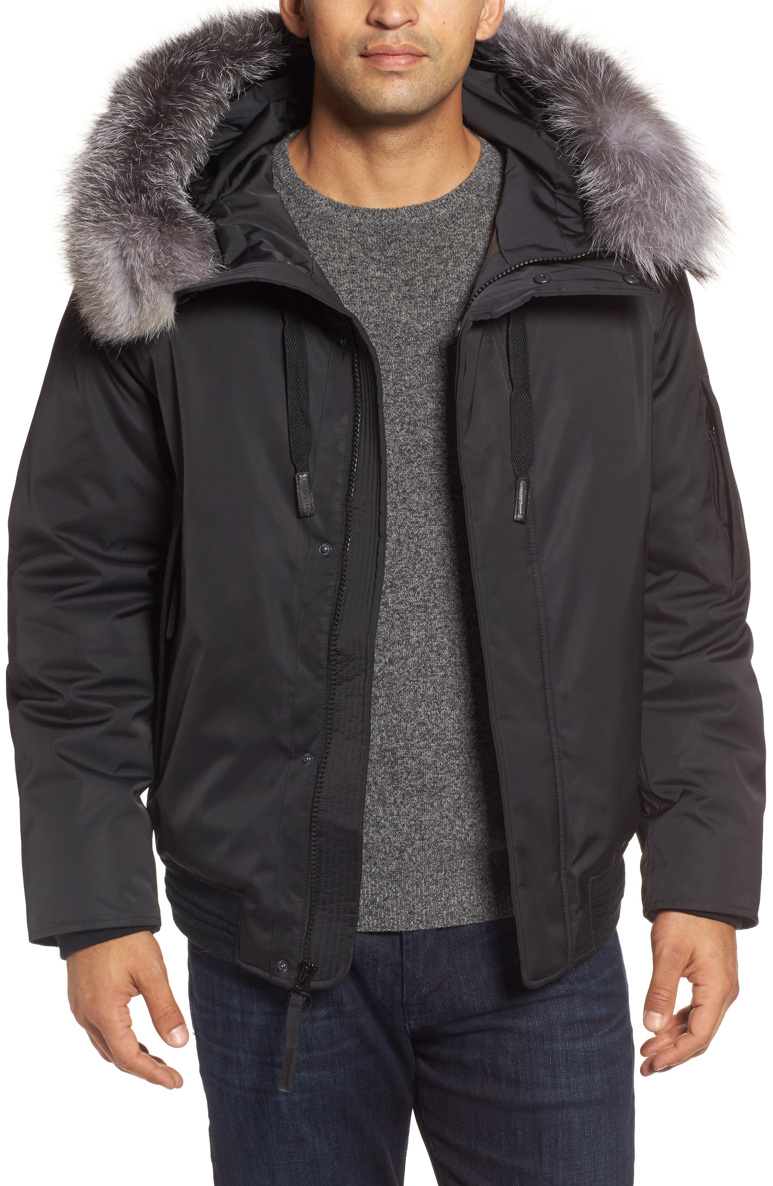 Andrew Marc Bomber Jacket with Genuine Fox Fur Trim