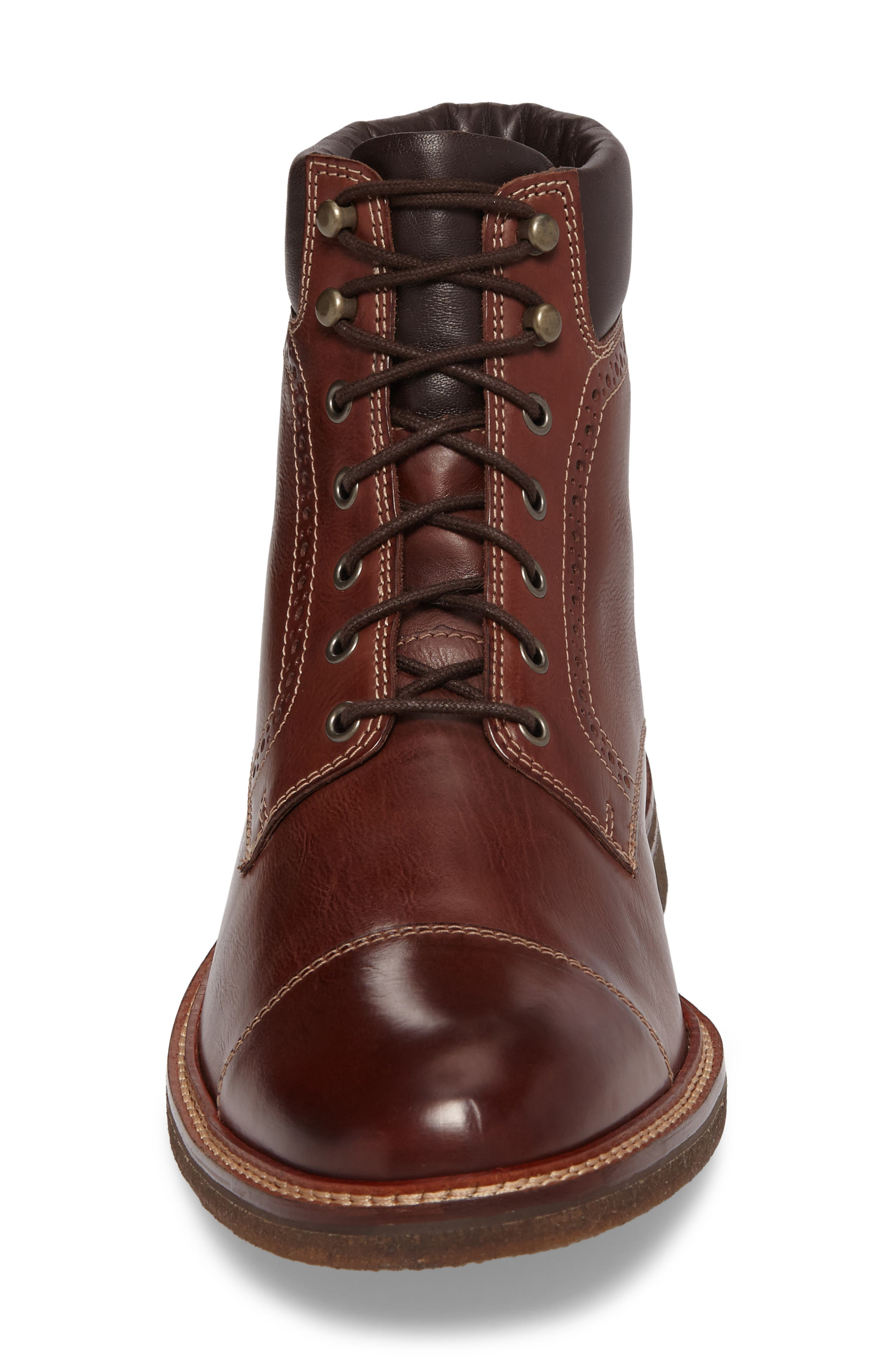 Forrester Cap Toe Boot,                             Alternate thumbnail 4, color,                             Mahogany Leather