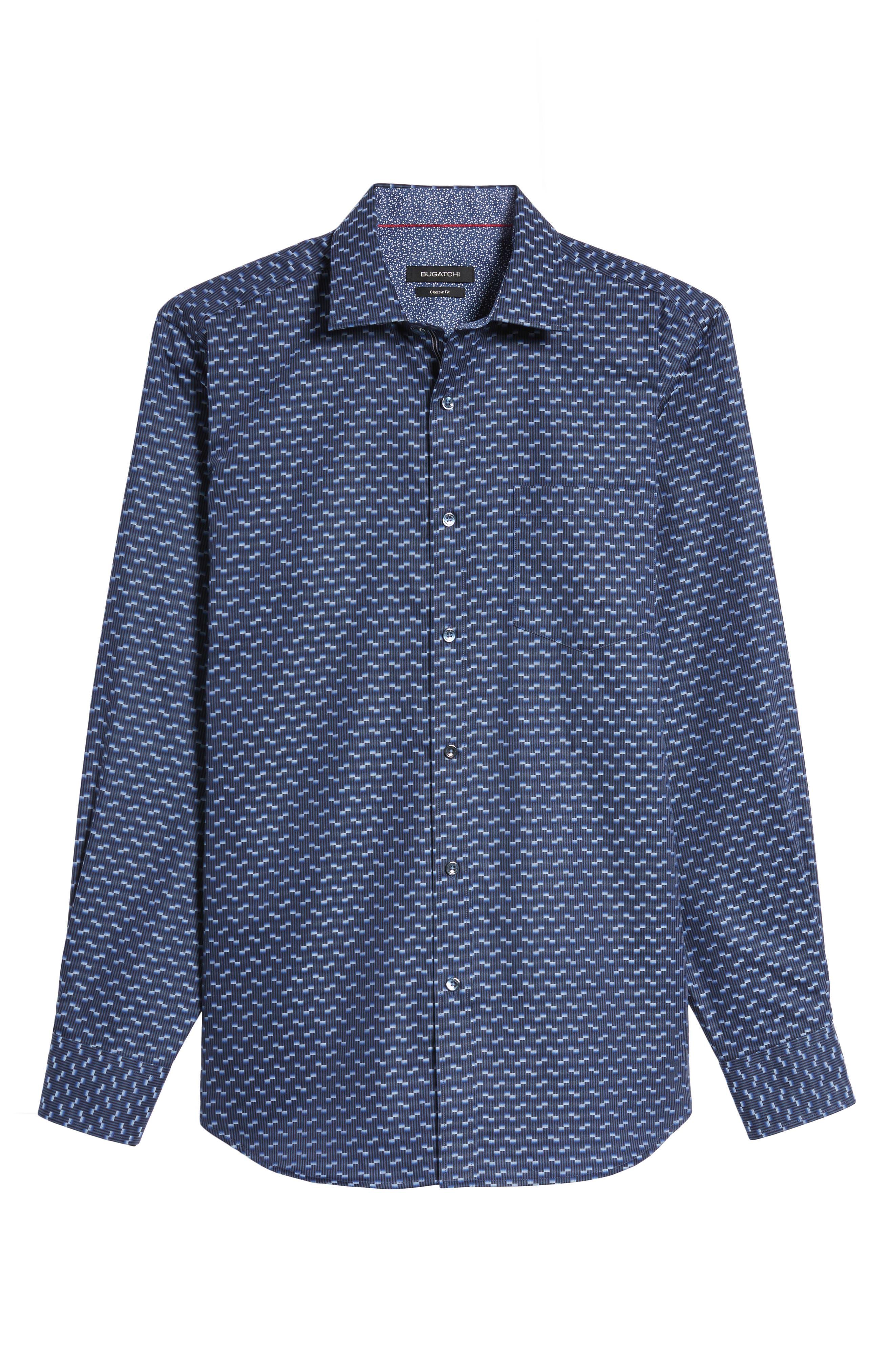 Alternate Image 6  - Bugatchi Classic Fit Geo Jacquard Sport Shirt