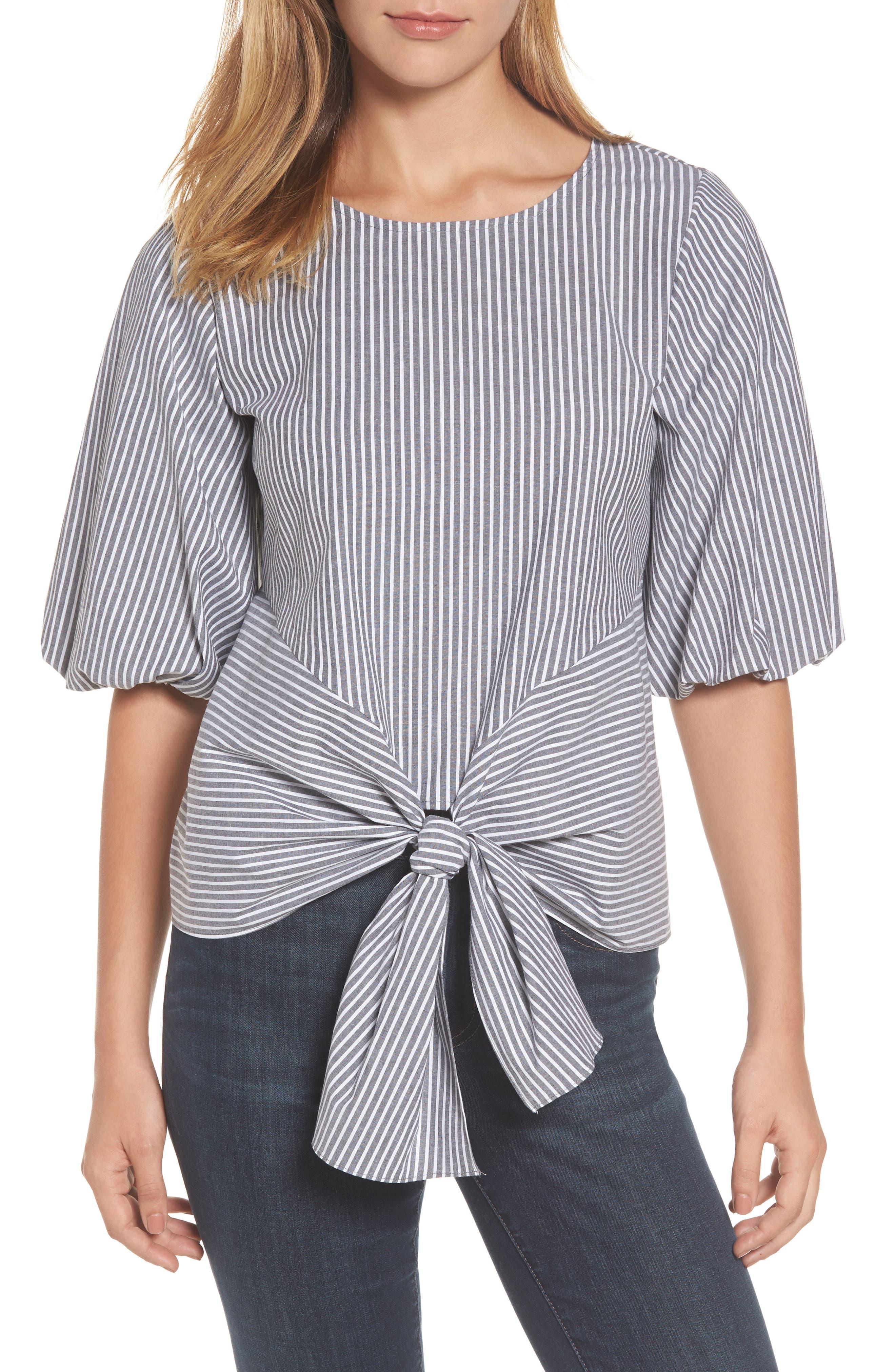 Bubble Sleeve Tie Front Top,                         Main,                         color, Black/ White