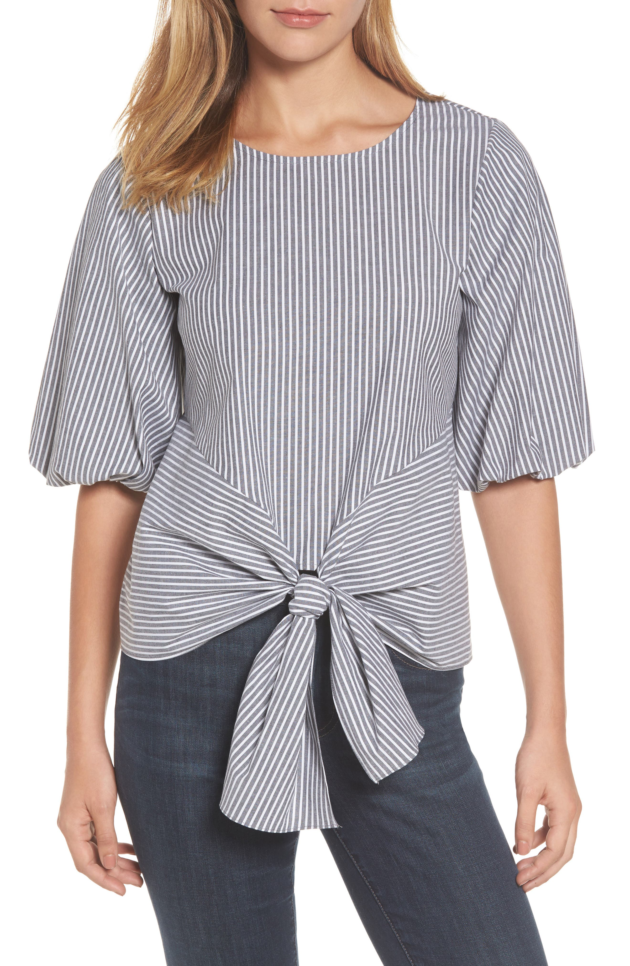 Gibson Bubble Sleeve Tie Front Top