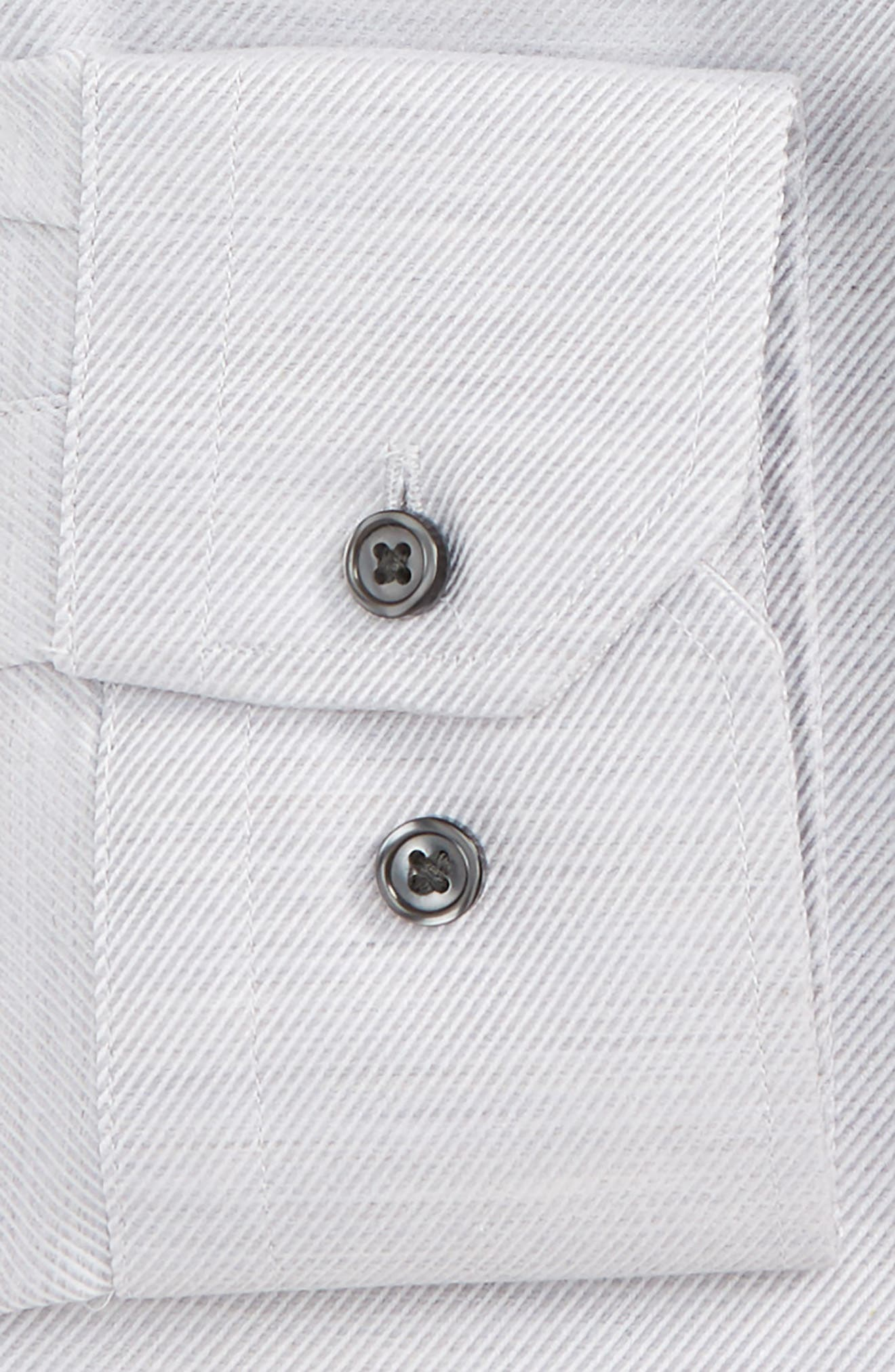 Trim Fit Twill Dress Shirt,                             Alternate thumbnail 2, color,                             Grey Heather