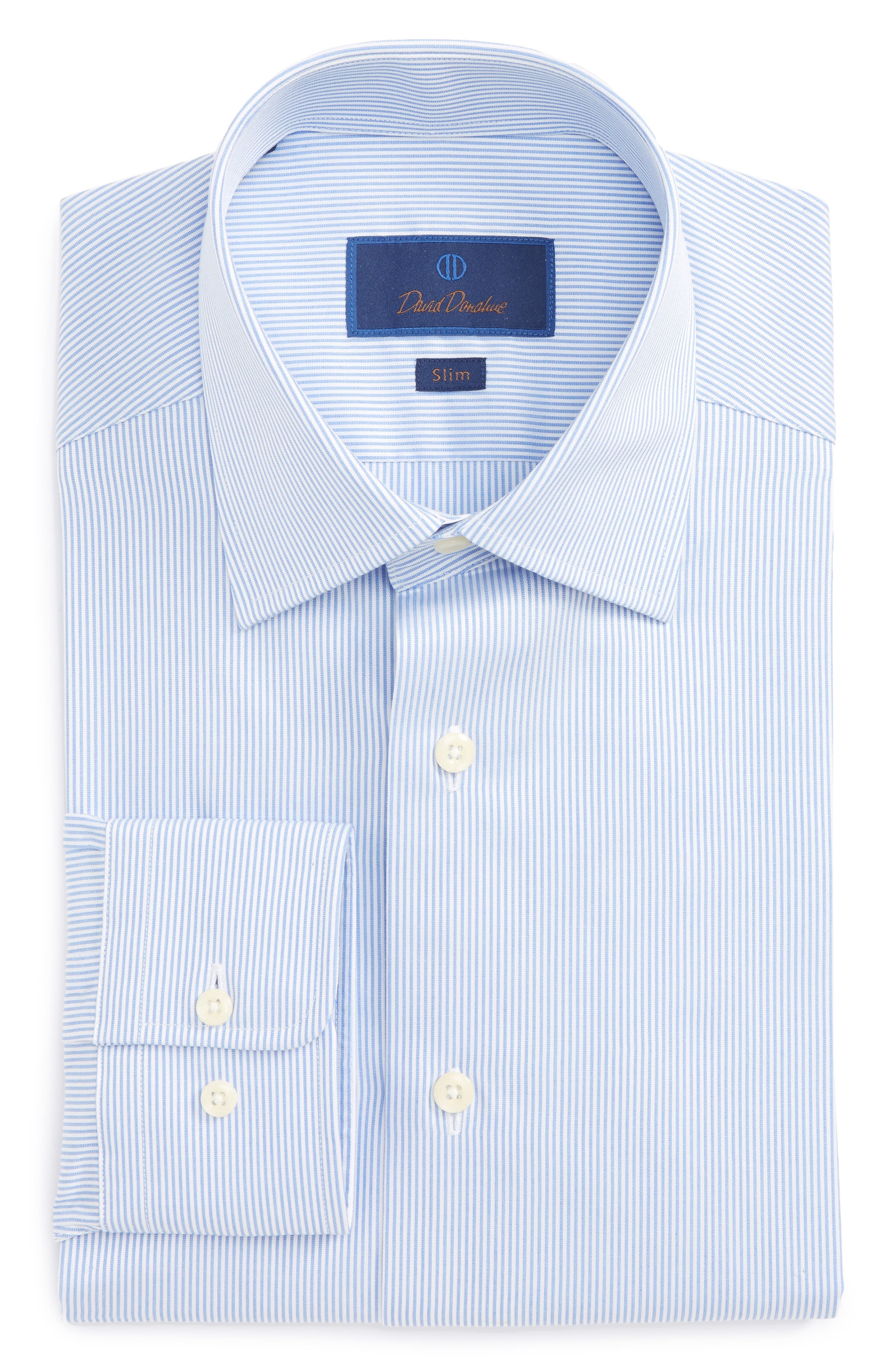 Slim Fit Stripe Dress Shirt,                         Main,                         color, Blue