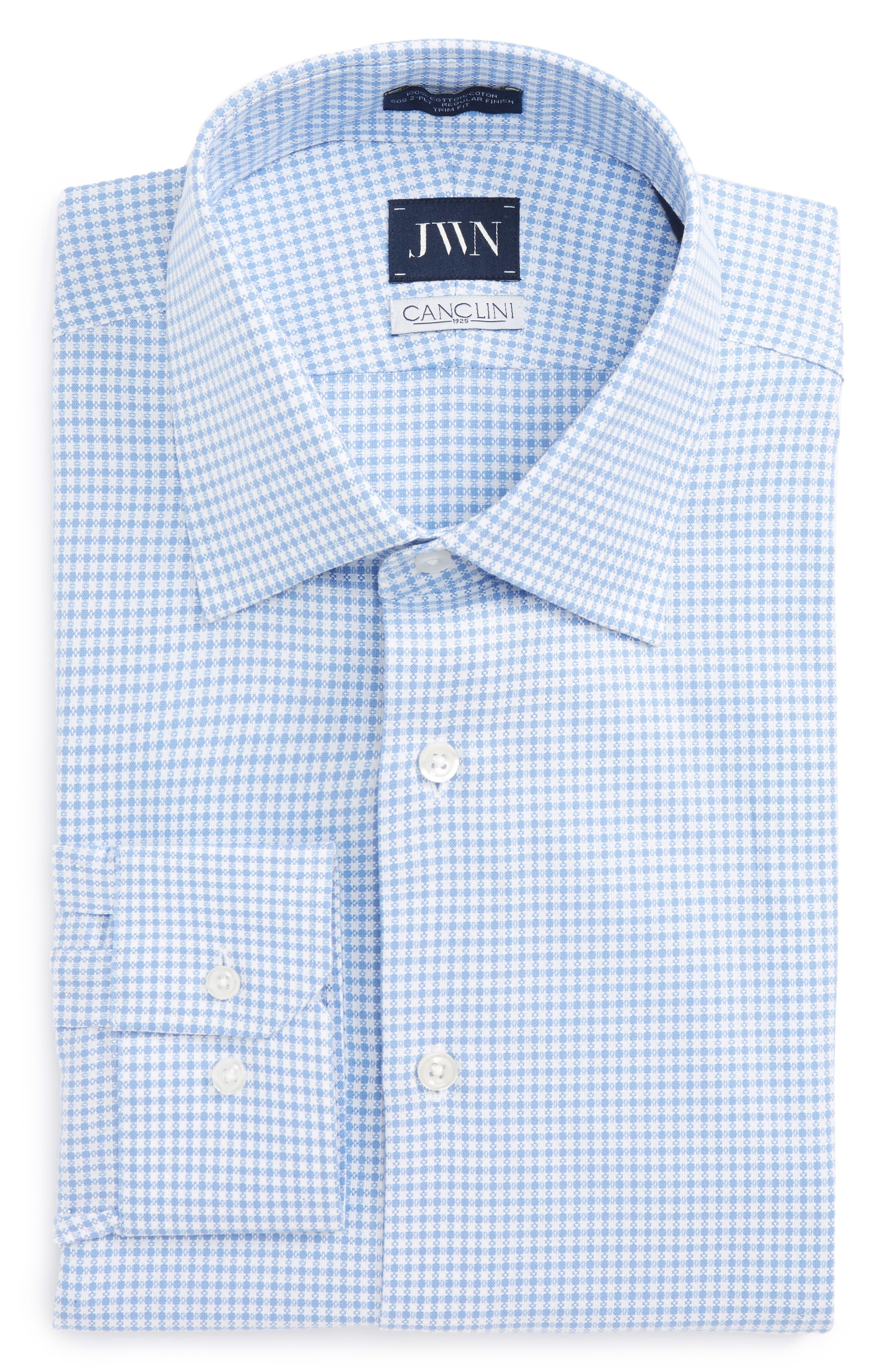Trim Fit Check Dress Shirt,                             Main thumbnail 1, color,                             Blue Bonnet