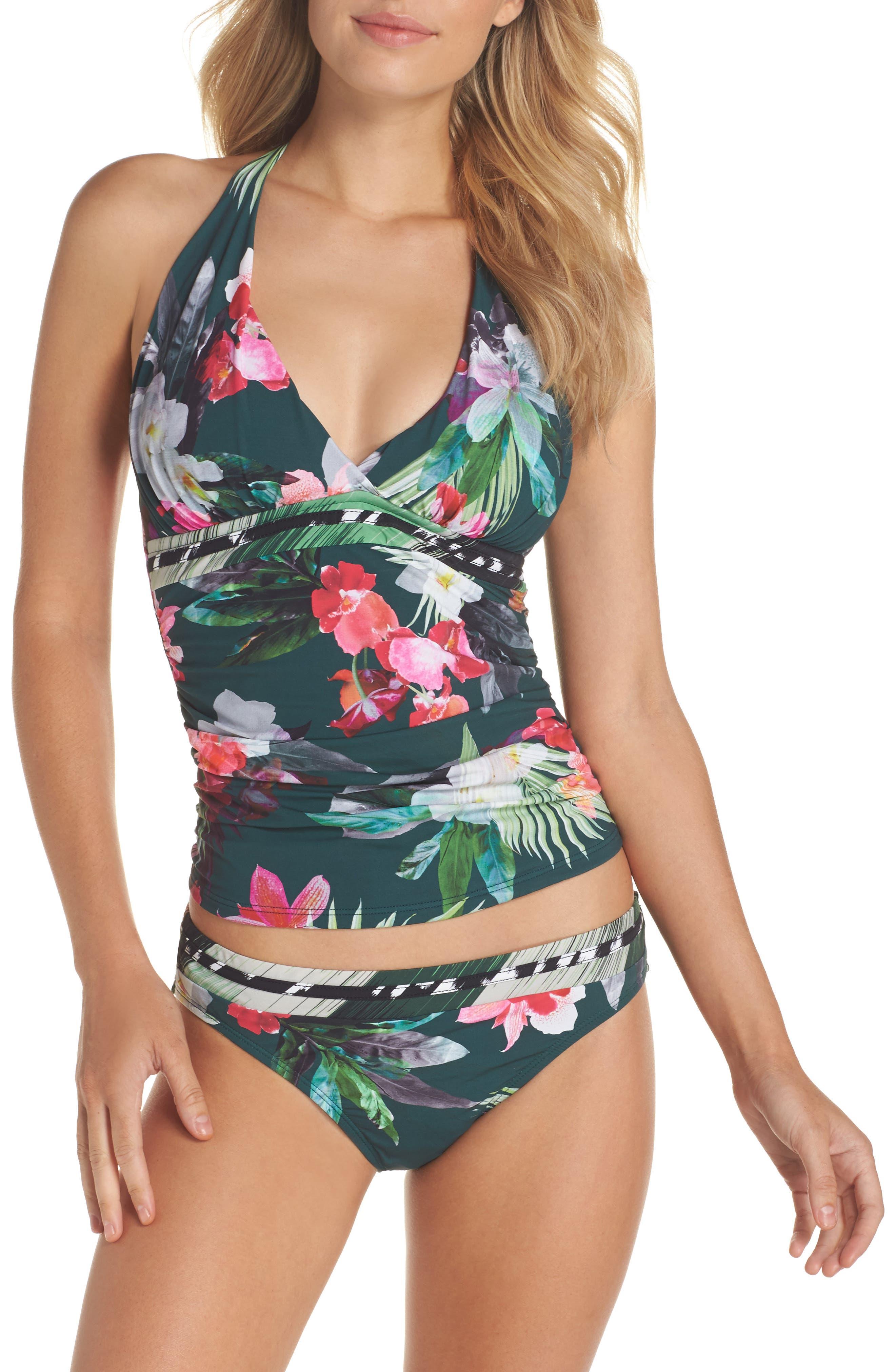 Jungle Floral Shirred Hipster Bikini Bottoms,                             Alternate thumbnail 6, color,                             Hunter