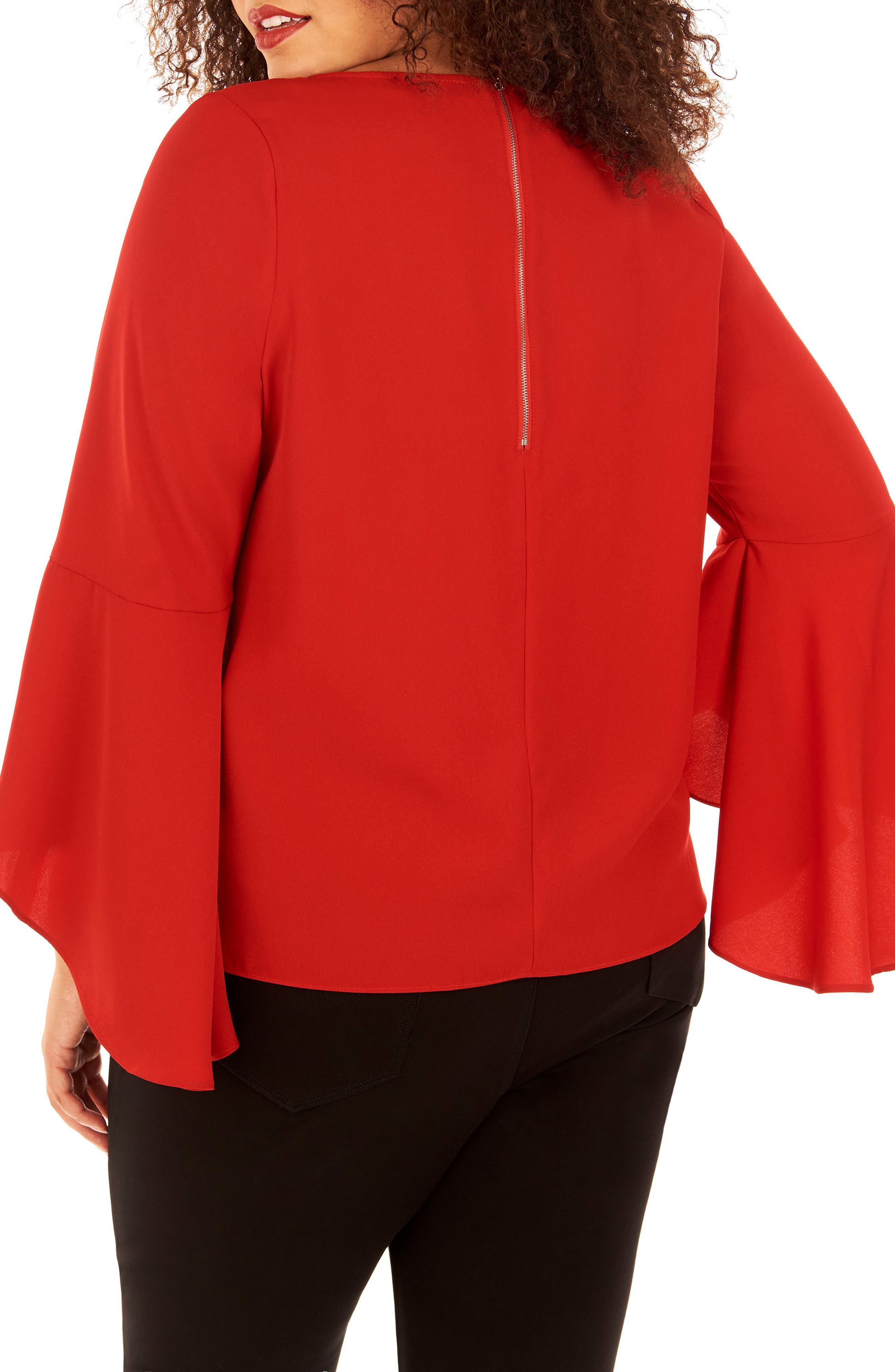 Bell Sleeve Top,                             Alternate thumbnail 2, color,                             Haute Red