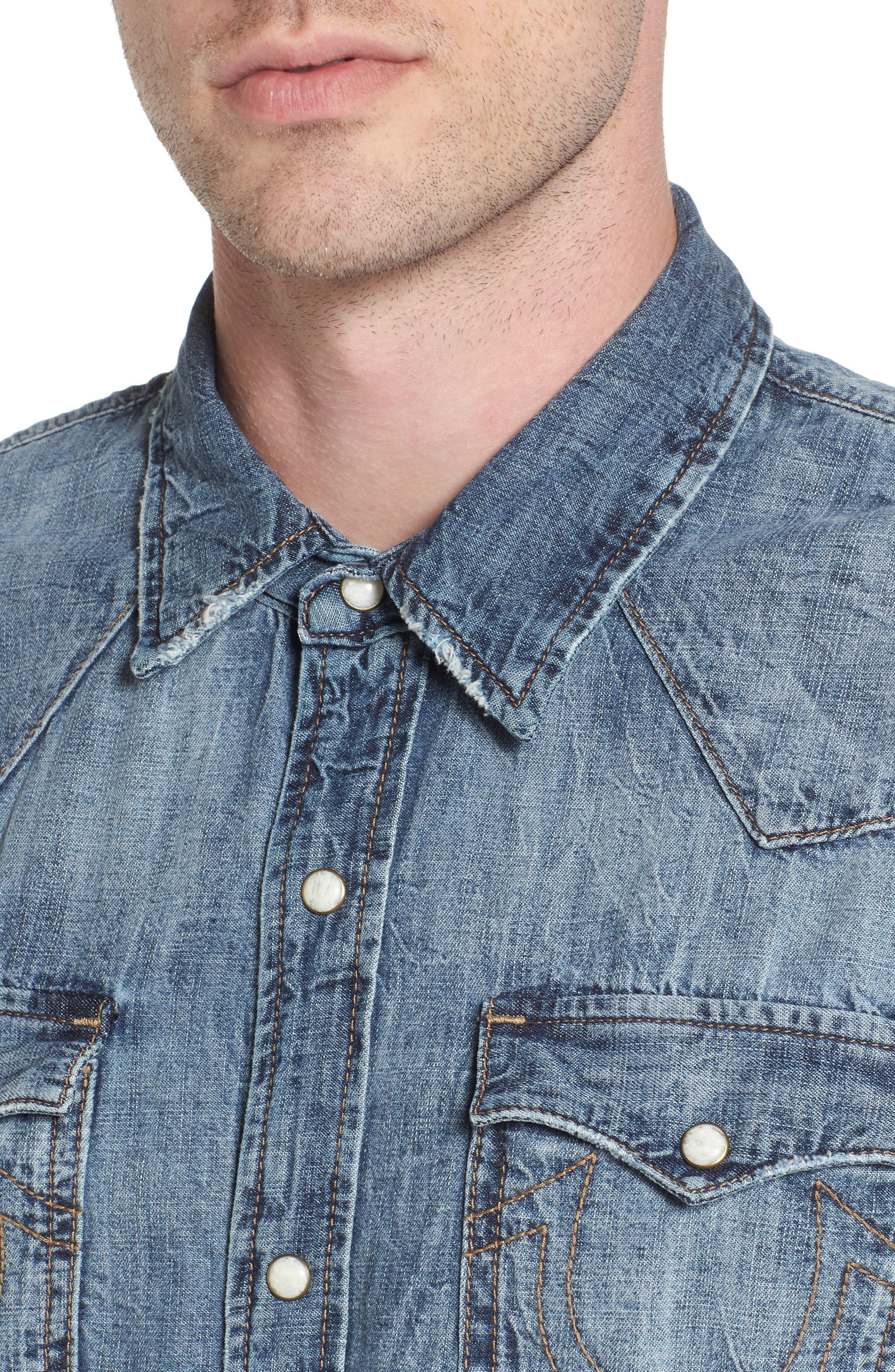 Alternate Image 4  - True Religion Brand Jeans Ryan Runyon Rebel Long Sleeve Western Shirt
