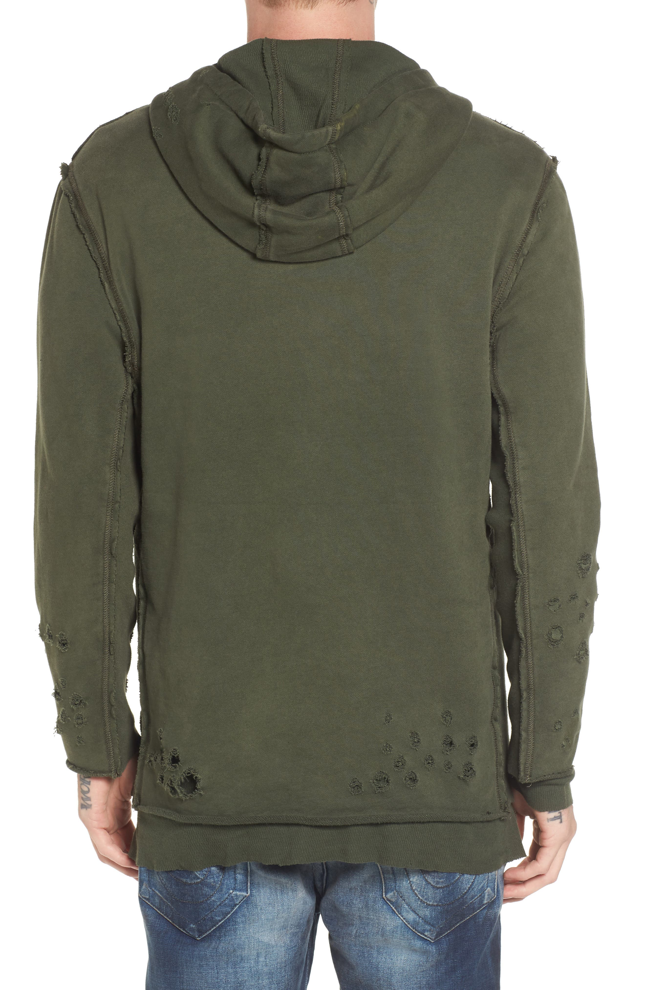Distressed Pullover Hoodie,                             Alternate thumbnail 2, color,                             Militant Green