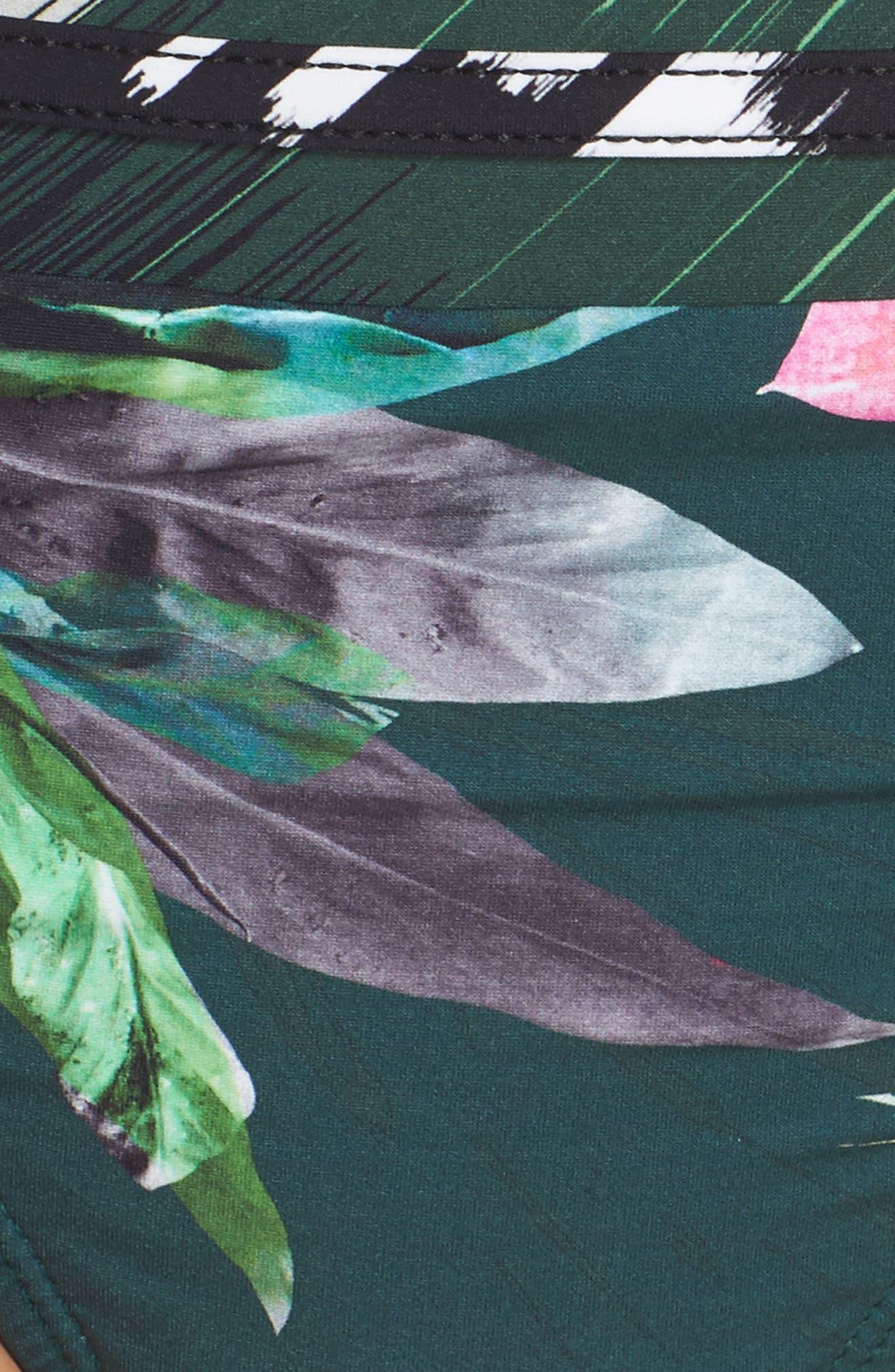 Jungle Floral Shirred Hipster Bikini Bottoms,                             Alternate thumbnail 5, color,                             Hunter