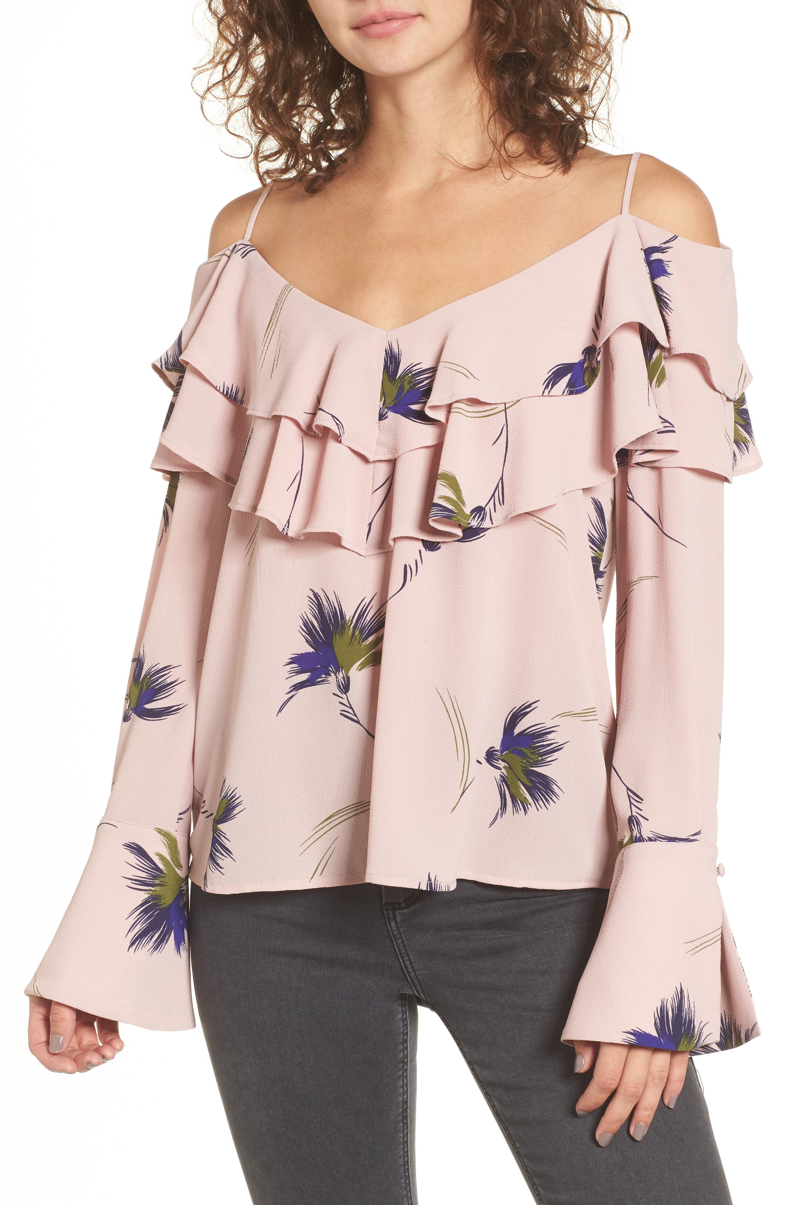 BP. Ruffle Print Off the Shoulder Blouse