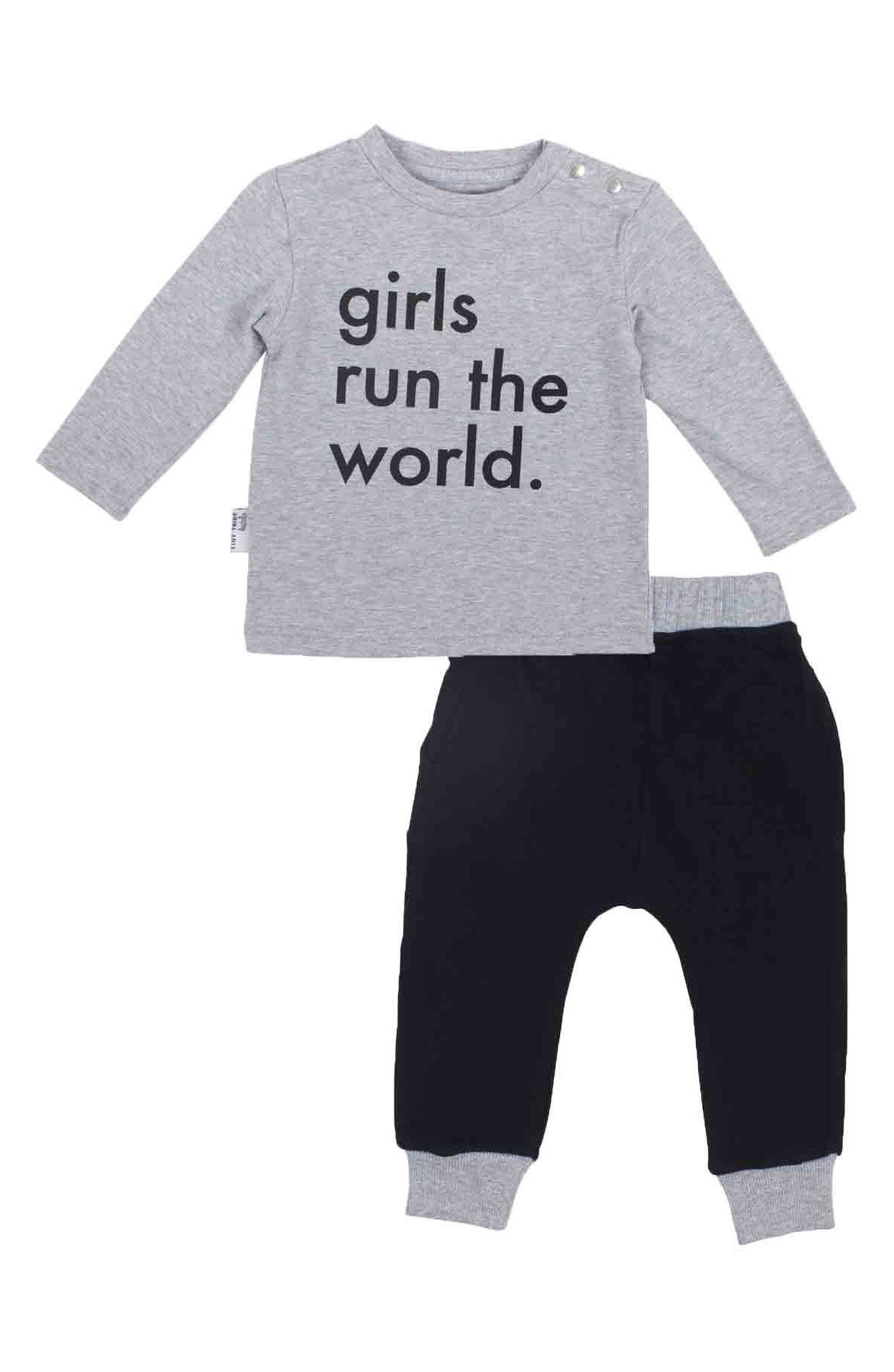 Girls Run The World Tee & Jogger Pants Set,                             Main thumbnail 1, color,                             Grey And Black