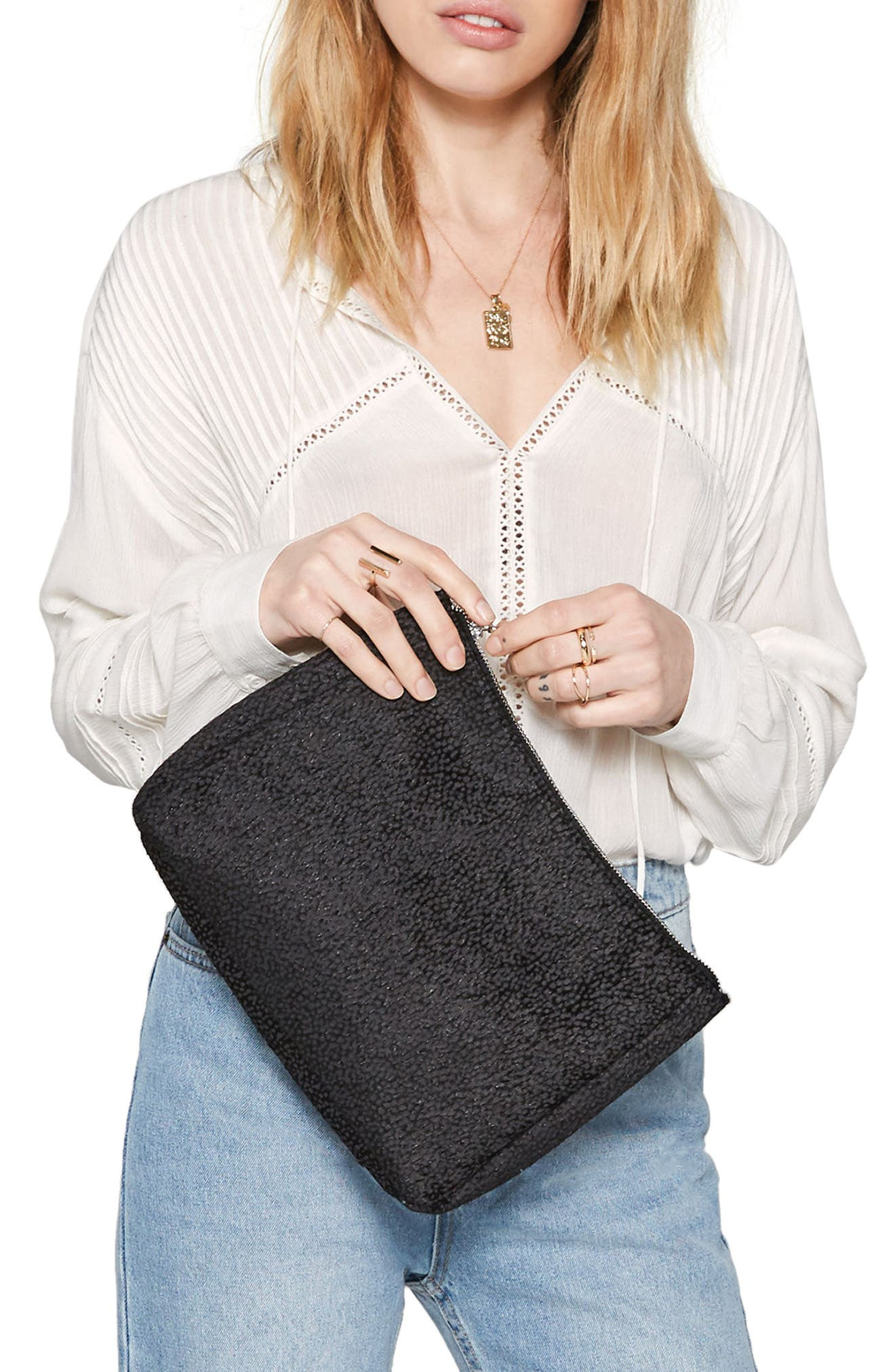 Faux Calf Hair Clutch,                             Alternate thumbnail 2, color,                             Black