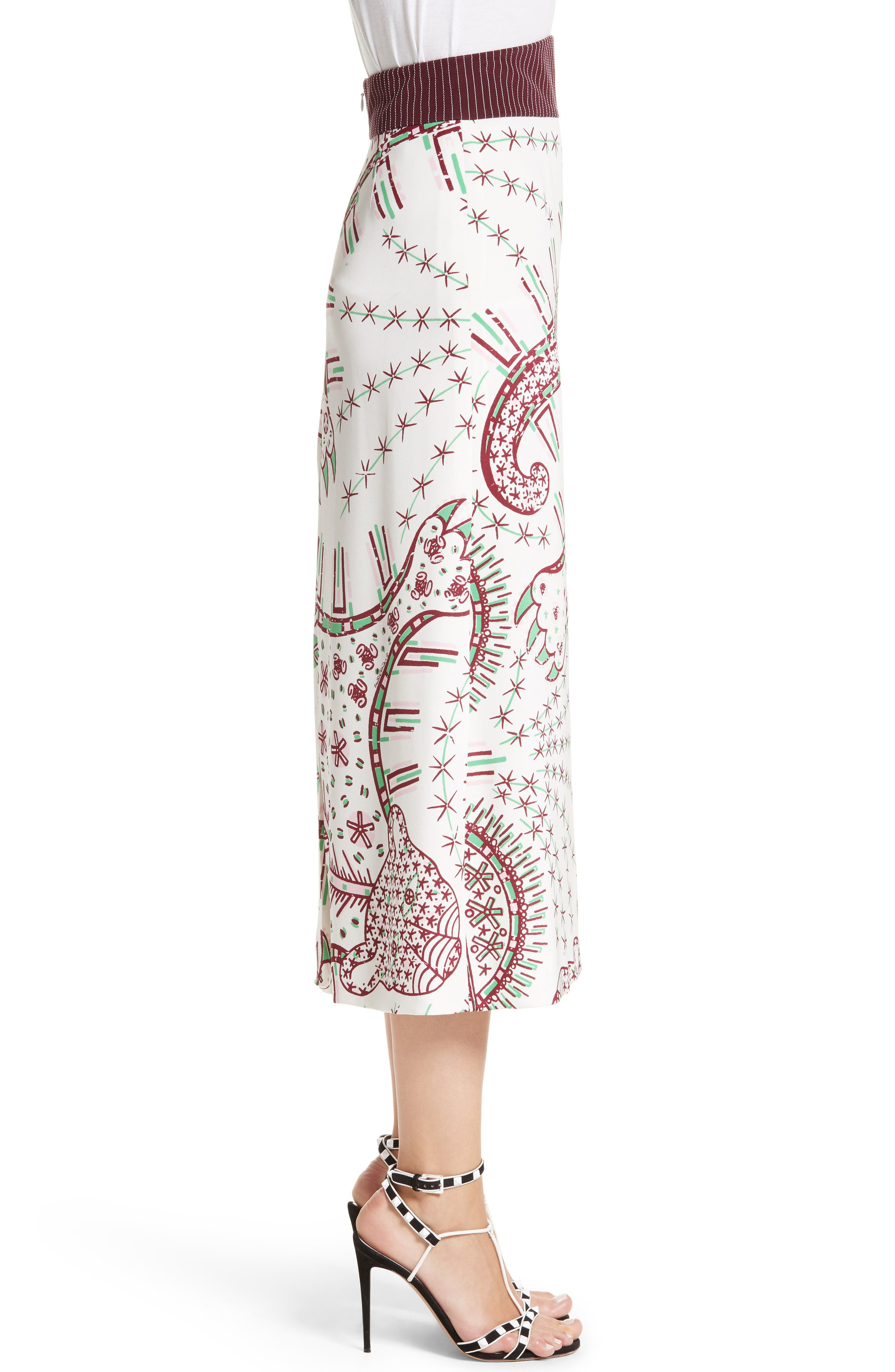 Leopard Cady Skirt,                             Alternate thumbnail 3, color,                             White Multi