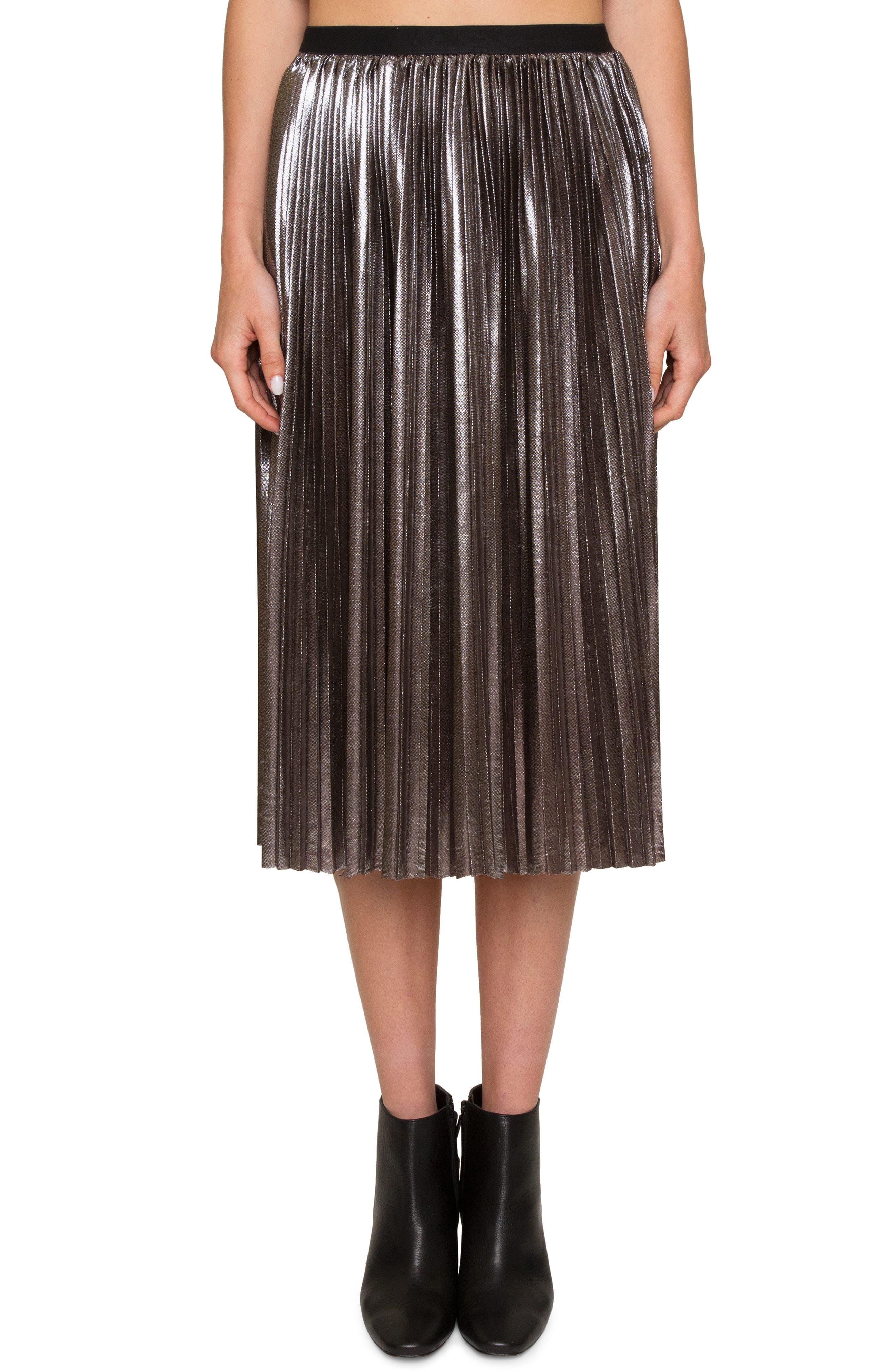 Pleated Metallic Skirt,                         Main,                         color, Platinum