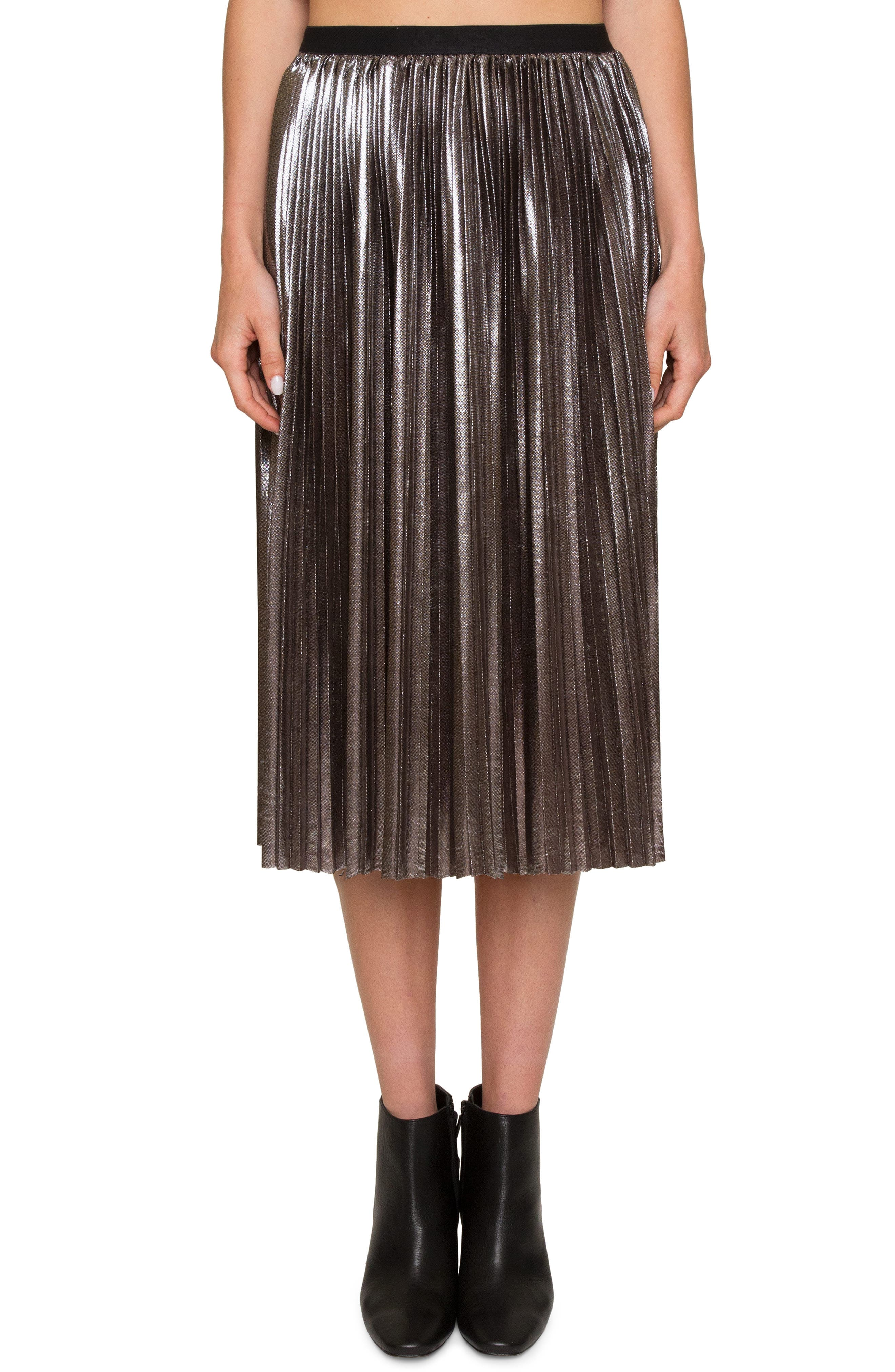 Willow & Clay Pleated Metallic Skirt