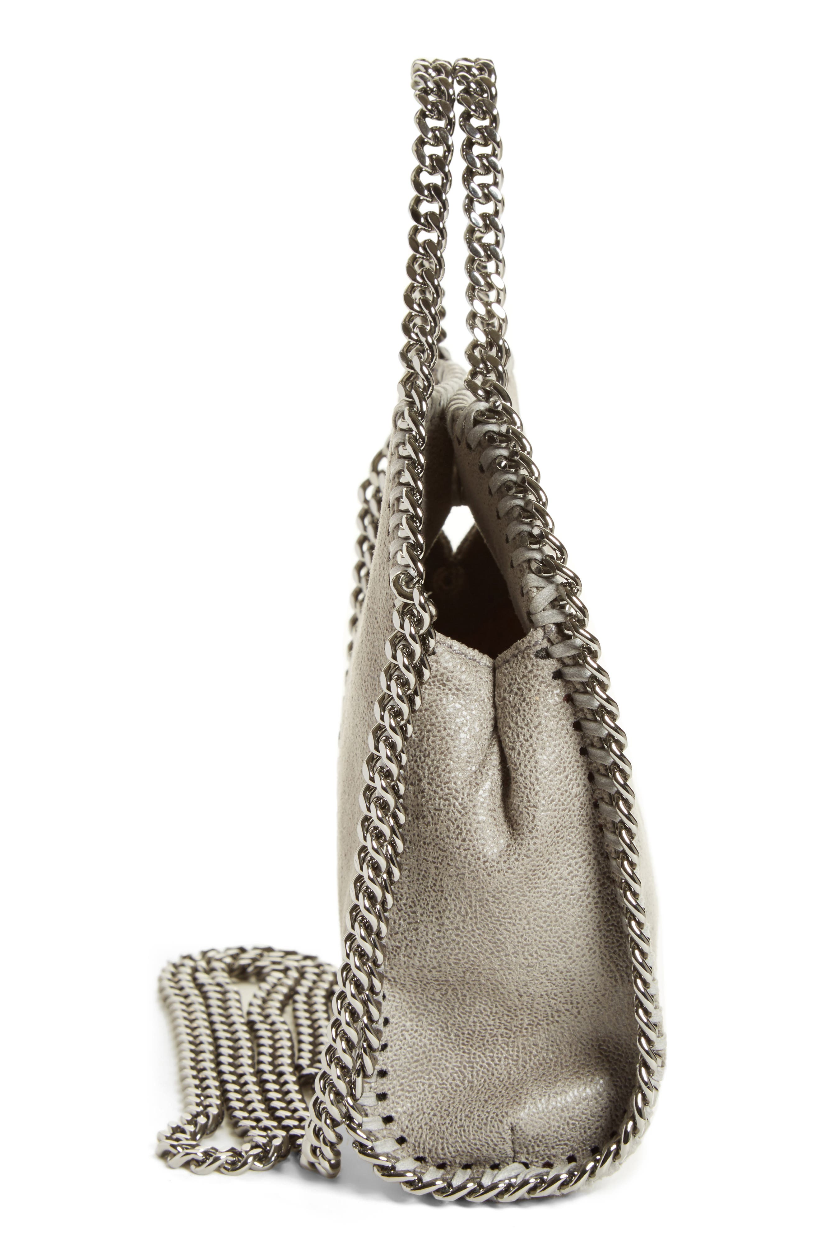 'Tiny Falabella' Faux Leather Crossbody Bag,                             Alternate thumbnail 5, color,                             Light Grey