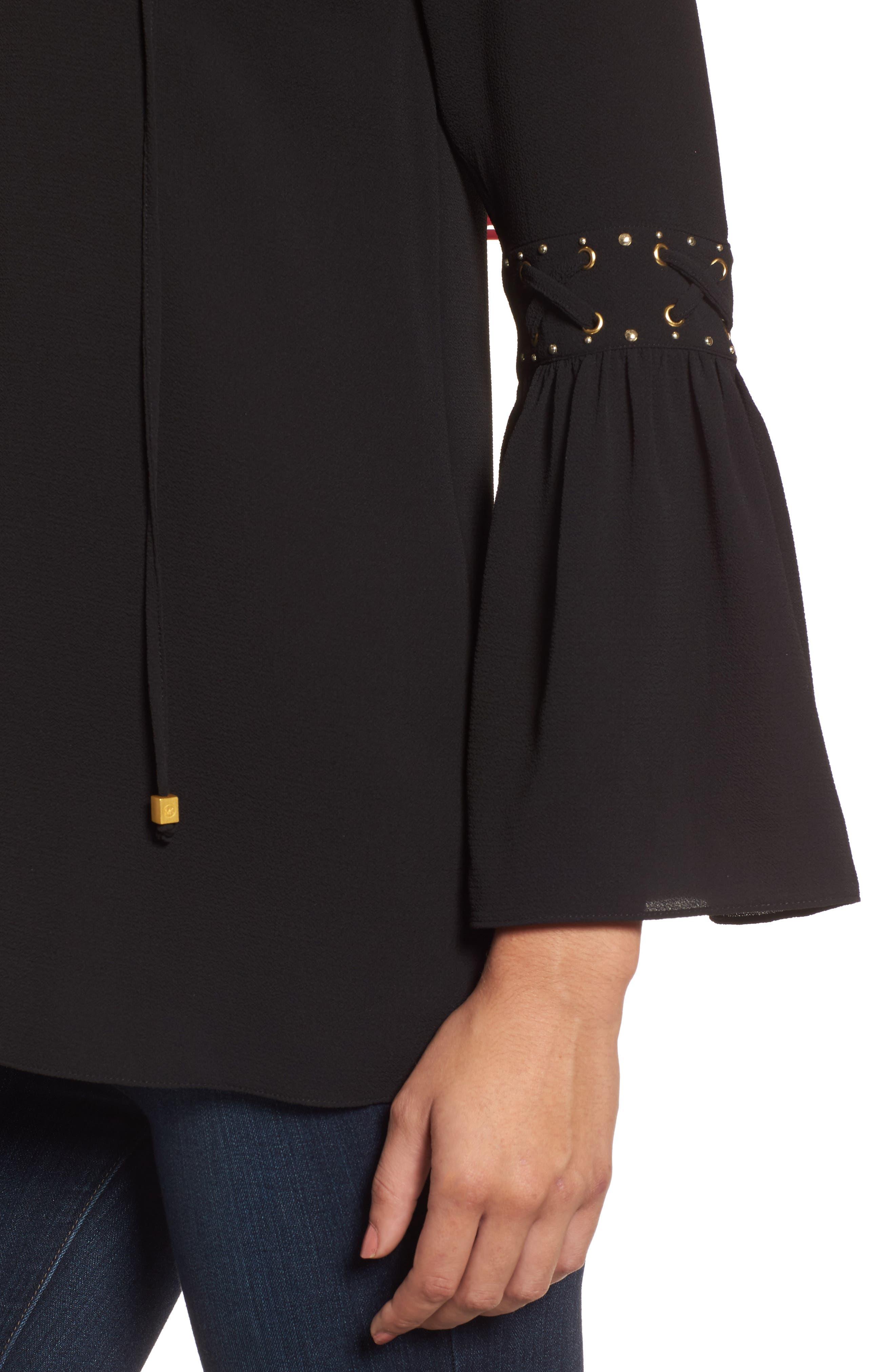 Alternate Image 4  - MICHAEL Michael Kors Lace-Up Sleeve Top