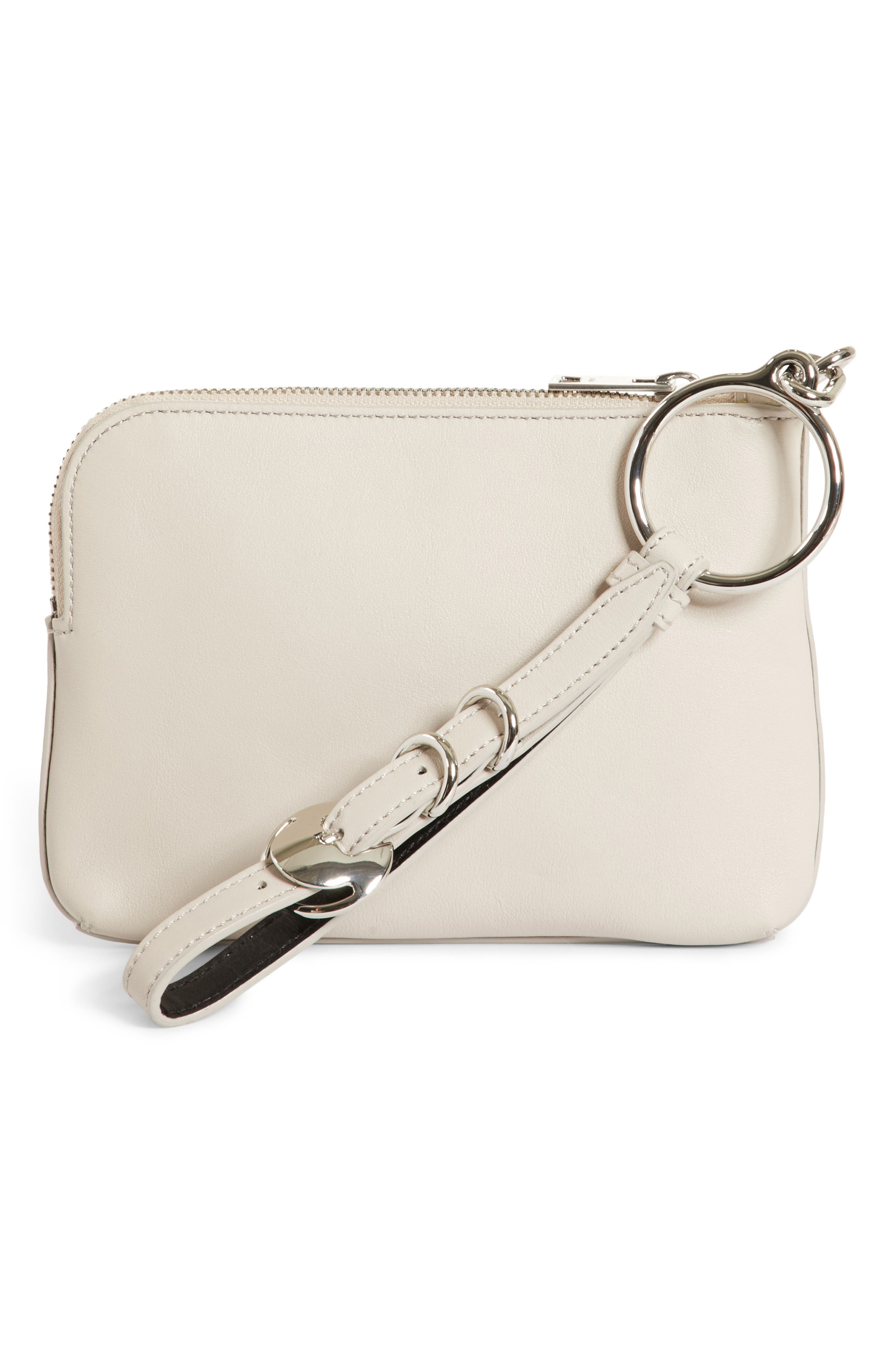 Small Ace Leather Wristlet,                             Alternate thumbnail 4, color,                             Smoke