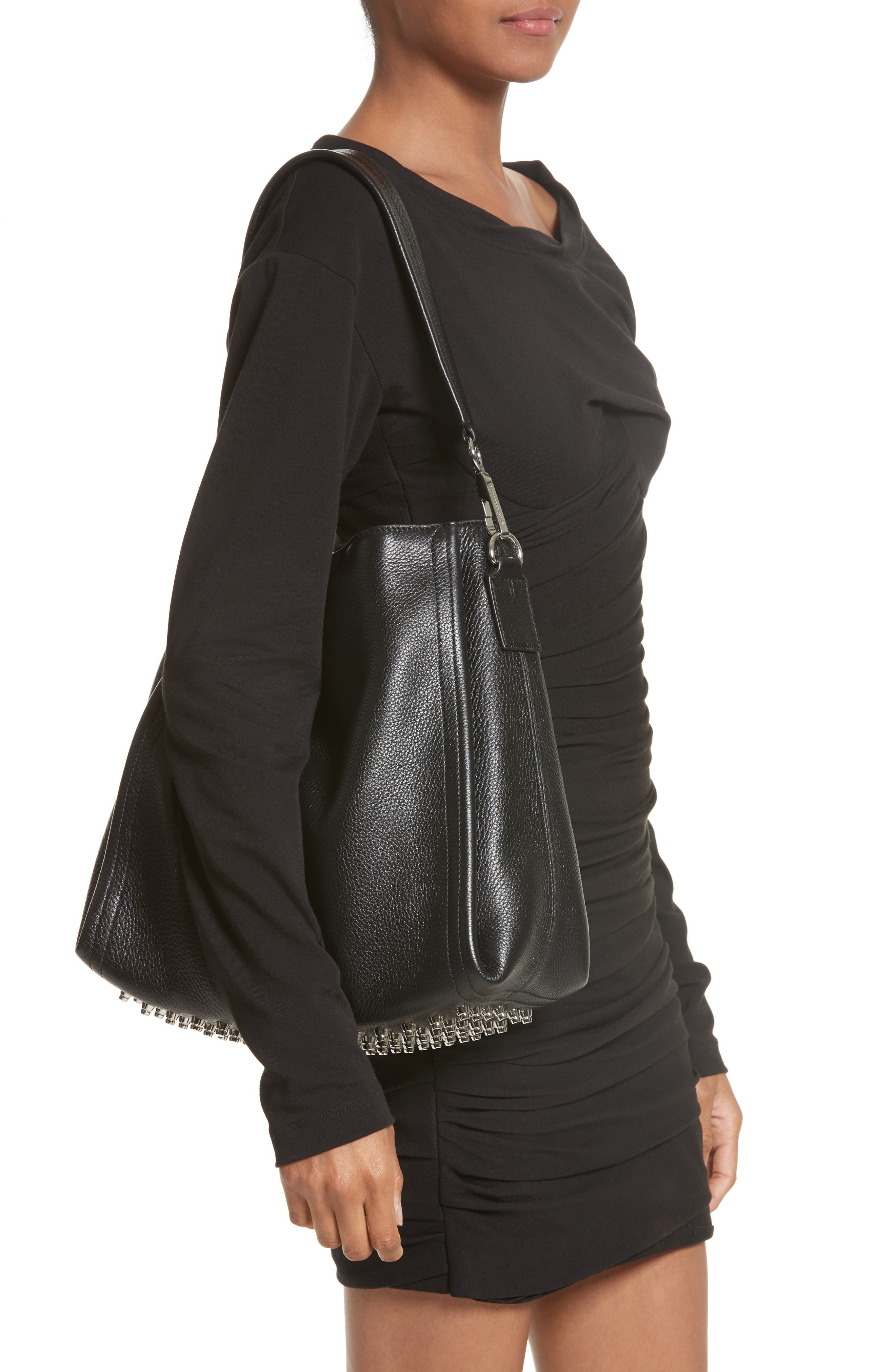Darcy Leather Hobo,                             Alternate thumbnail 2, color,                             Black