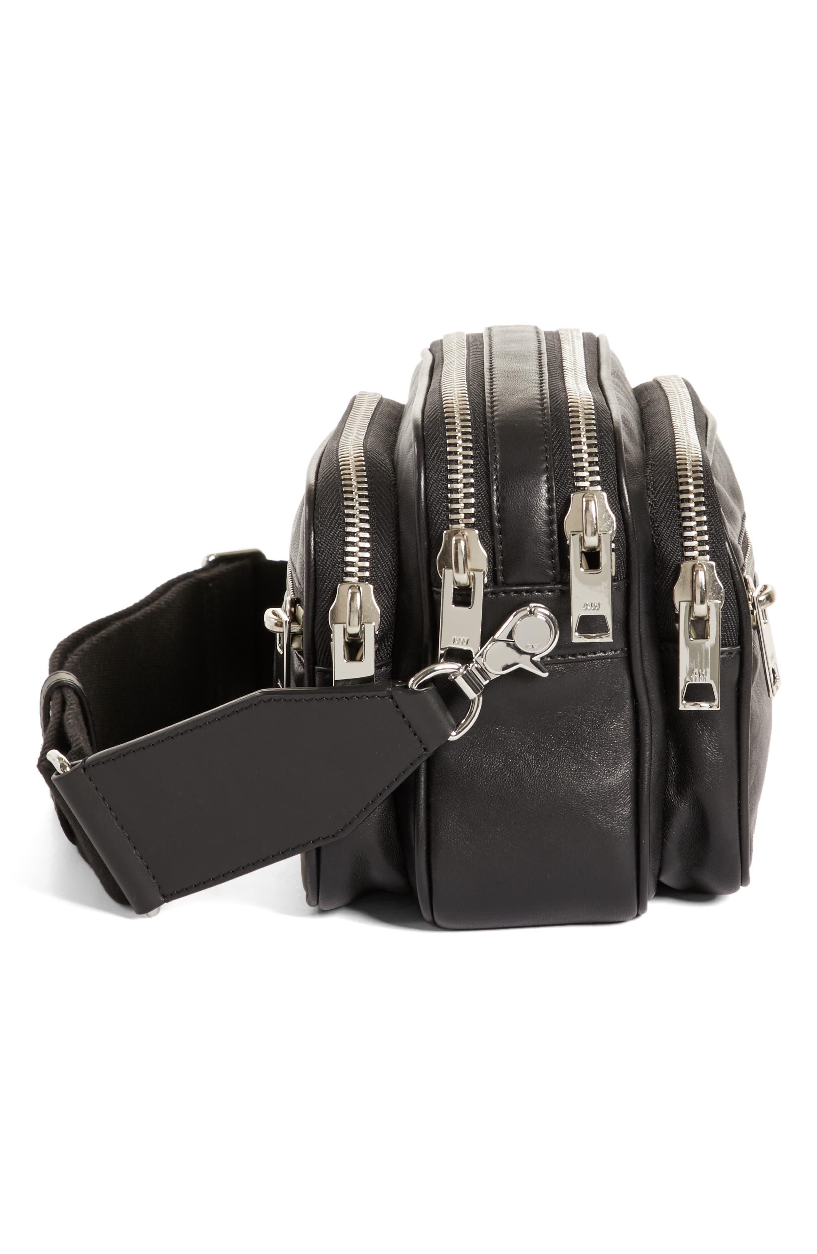 Large Attica Leather Crossbody Bag,                             Alternate thumbnail 5, color,                             Black