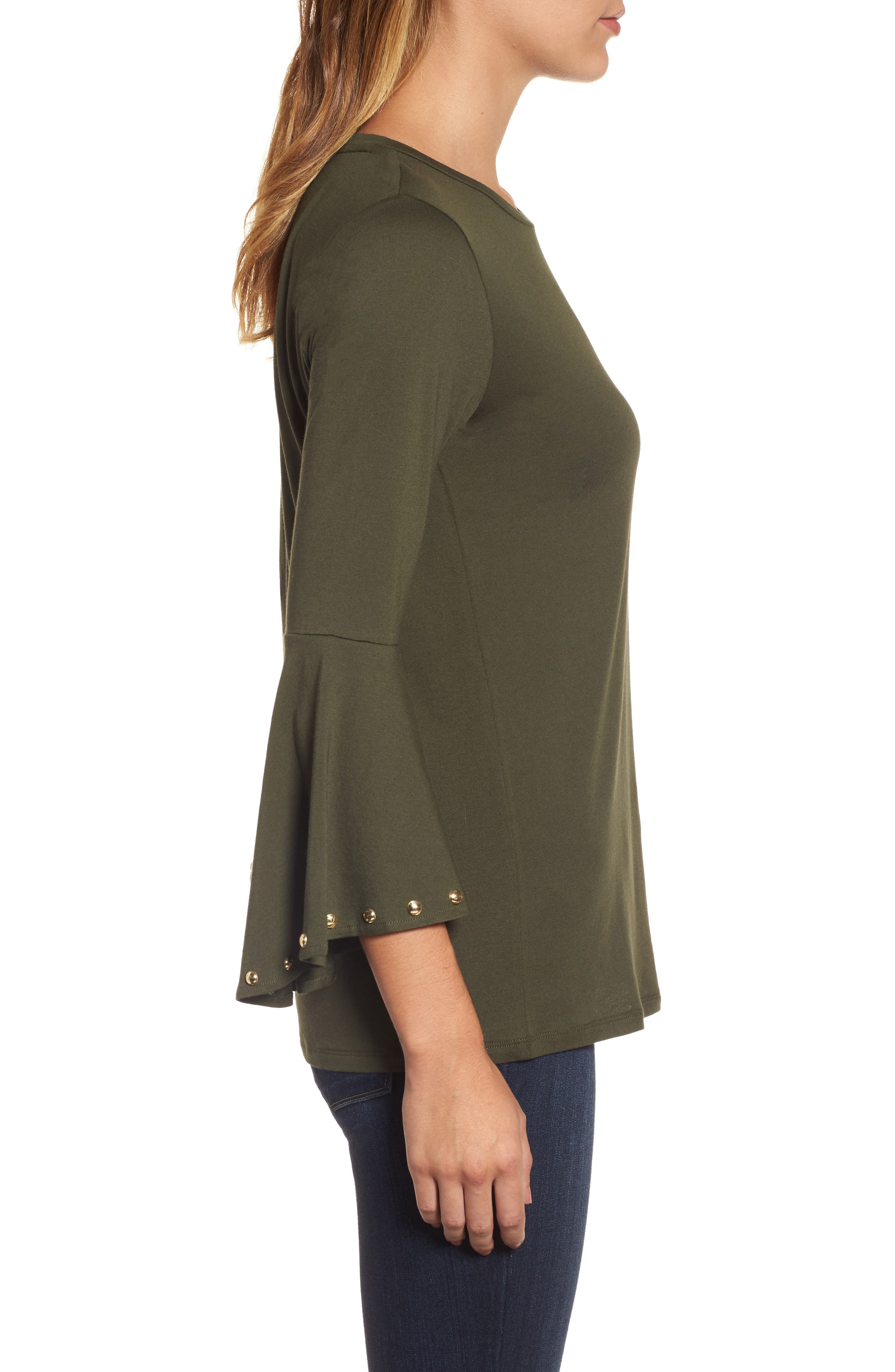 High/Low Bell Sleeve Top,                             Alternate thumbnail 3, color,                             Ivy