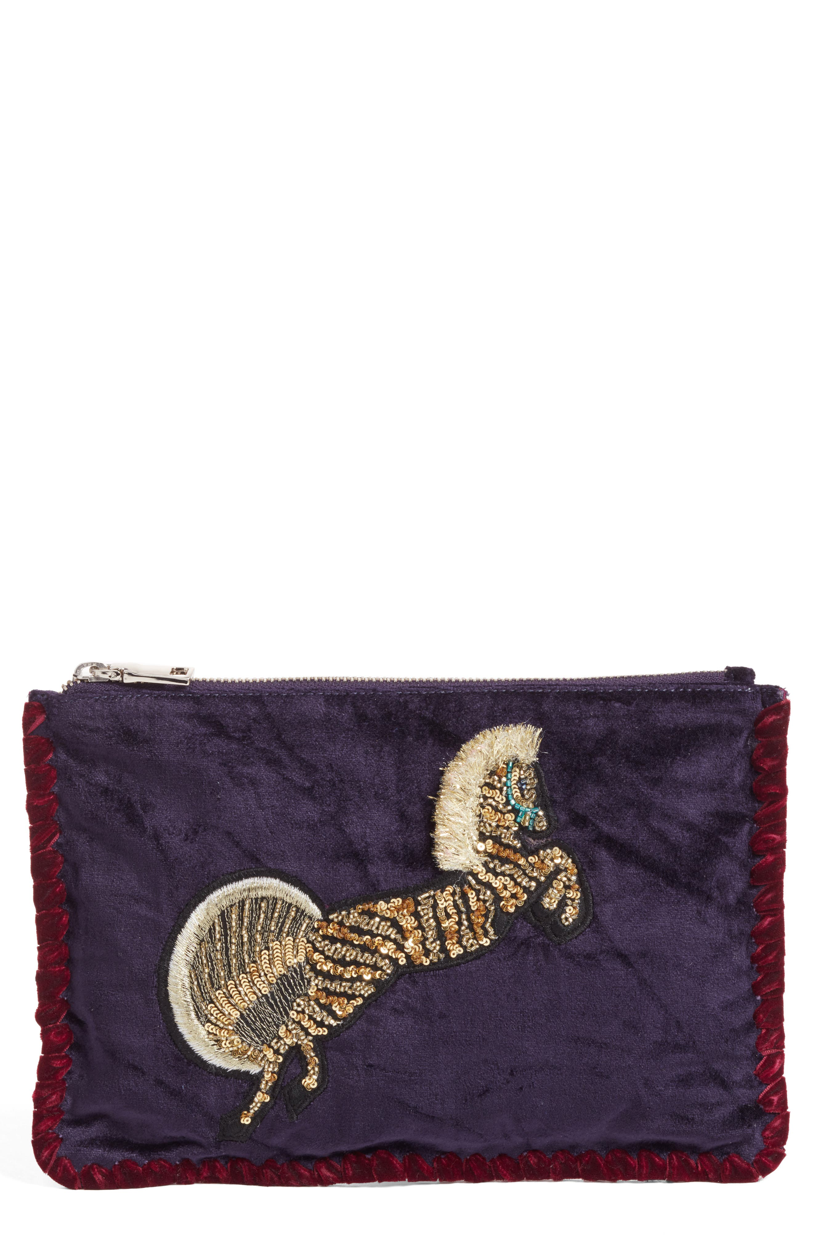 Embellished Clutch,                             Main thumbnail 1, color,                             Purple