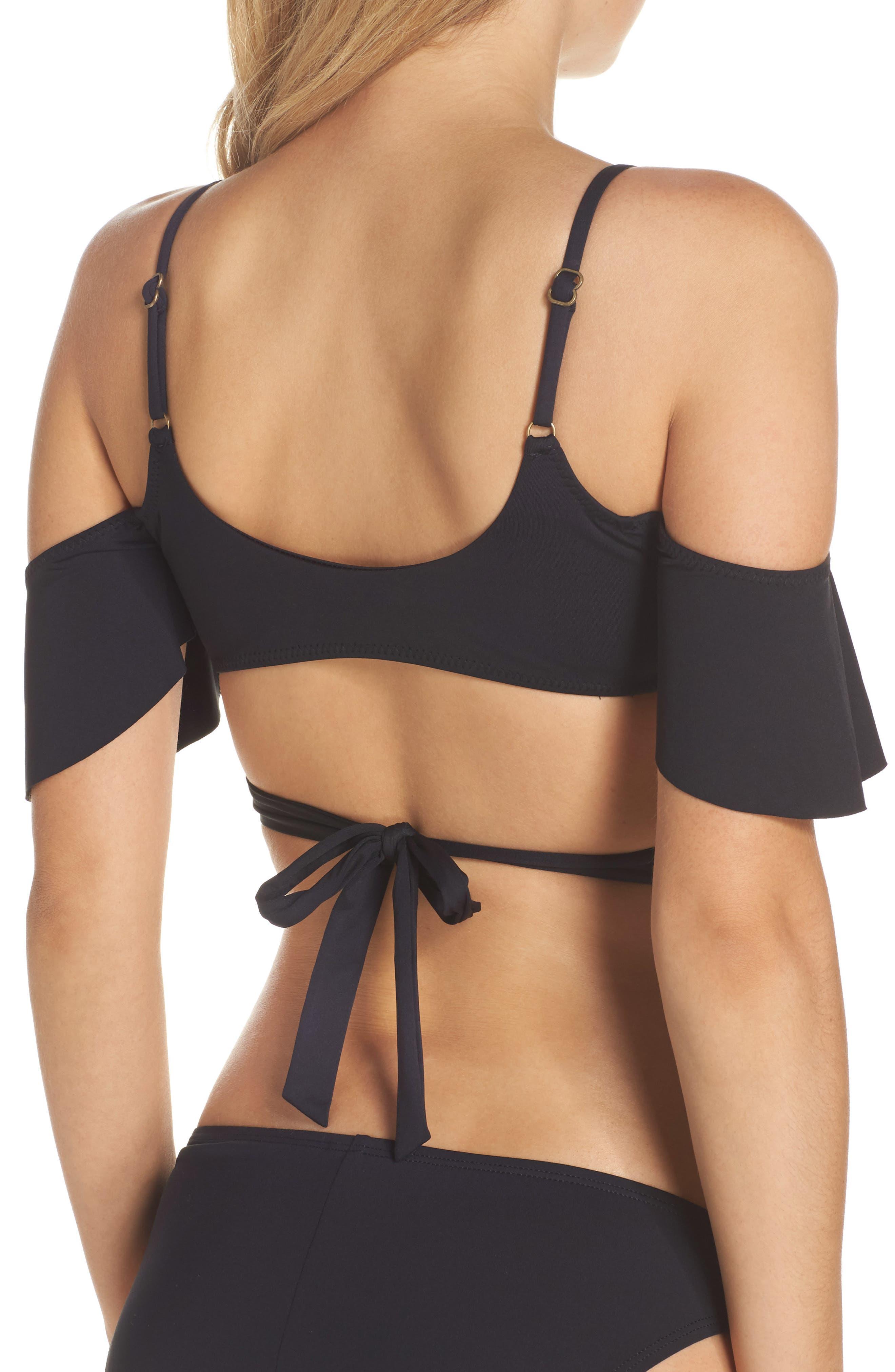 Ruffle Bikini Top,                             Alternate thumbnail 3, color,                             Black