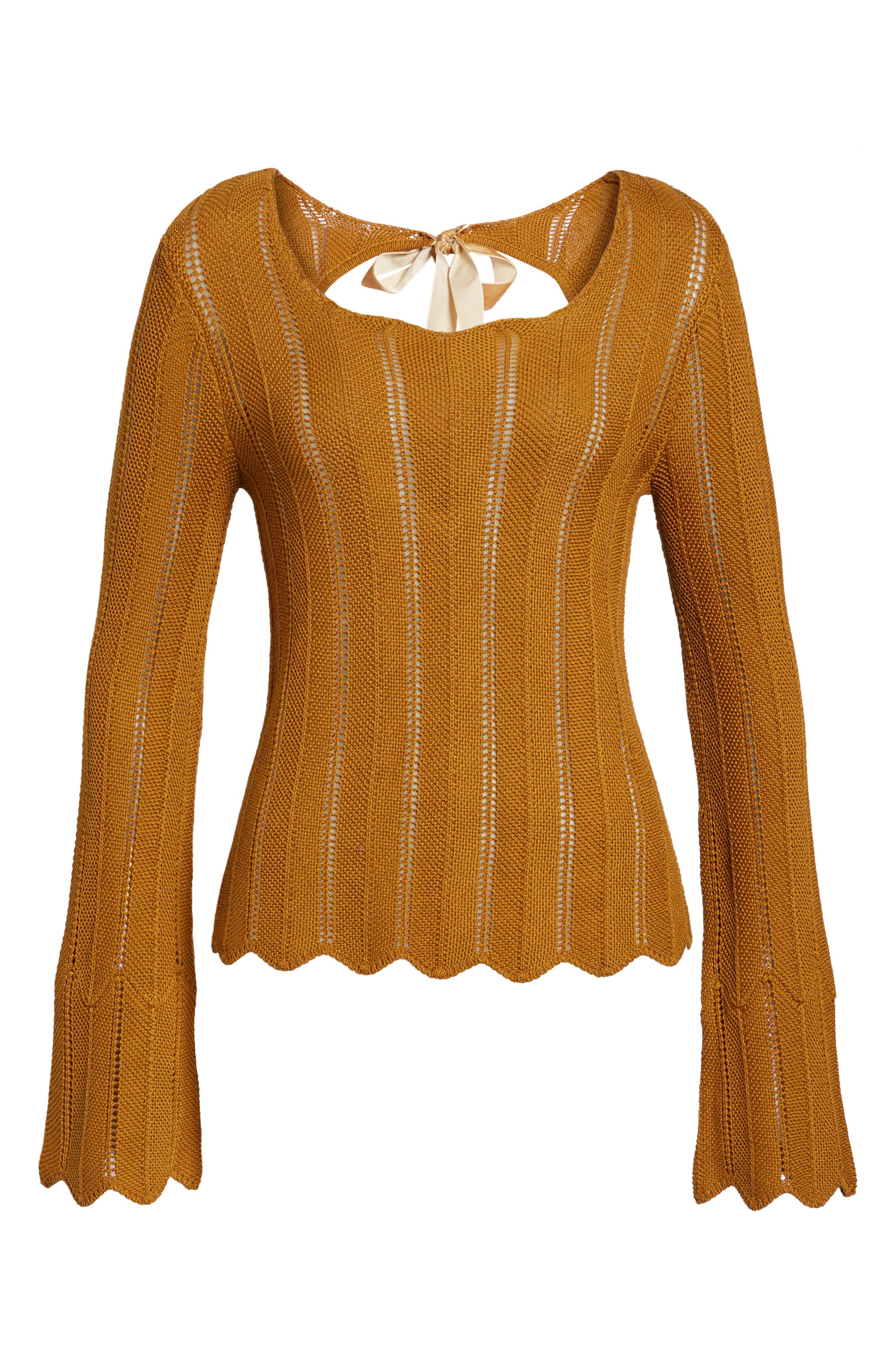 Robbie Tie Back Sweater,                             Alternate thumbnail 6, color,                             Rust