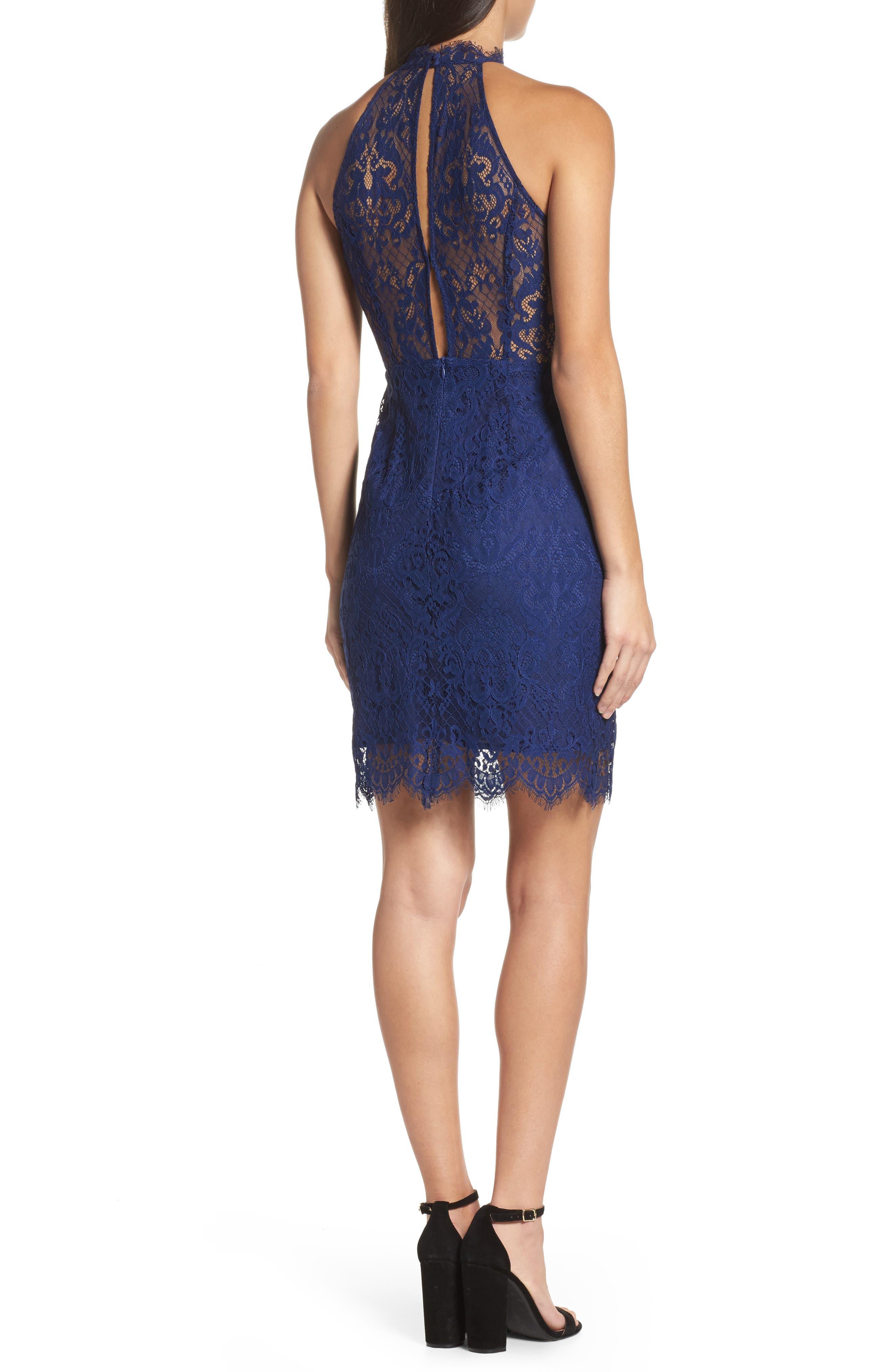 Cherie Lace Halter Sheath Dress,                             Alternate thumbnail 2, color,                             Blue