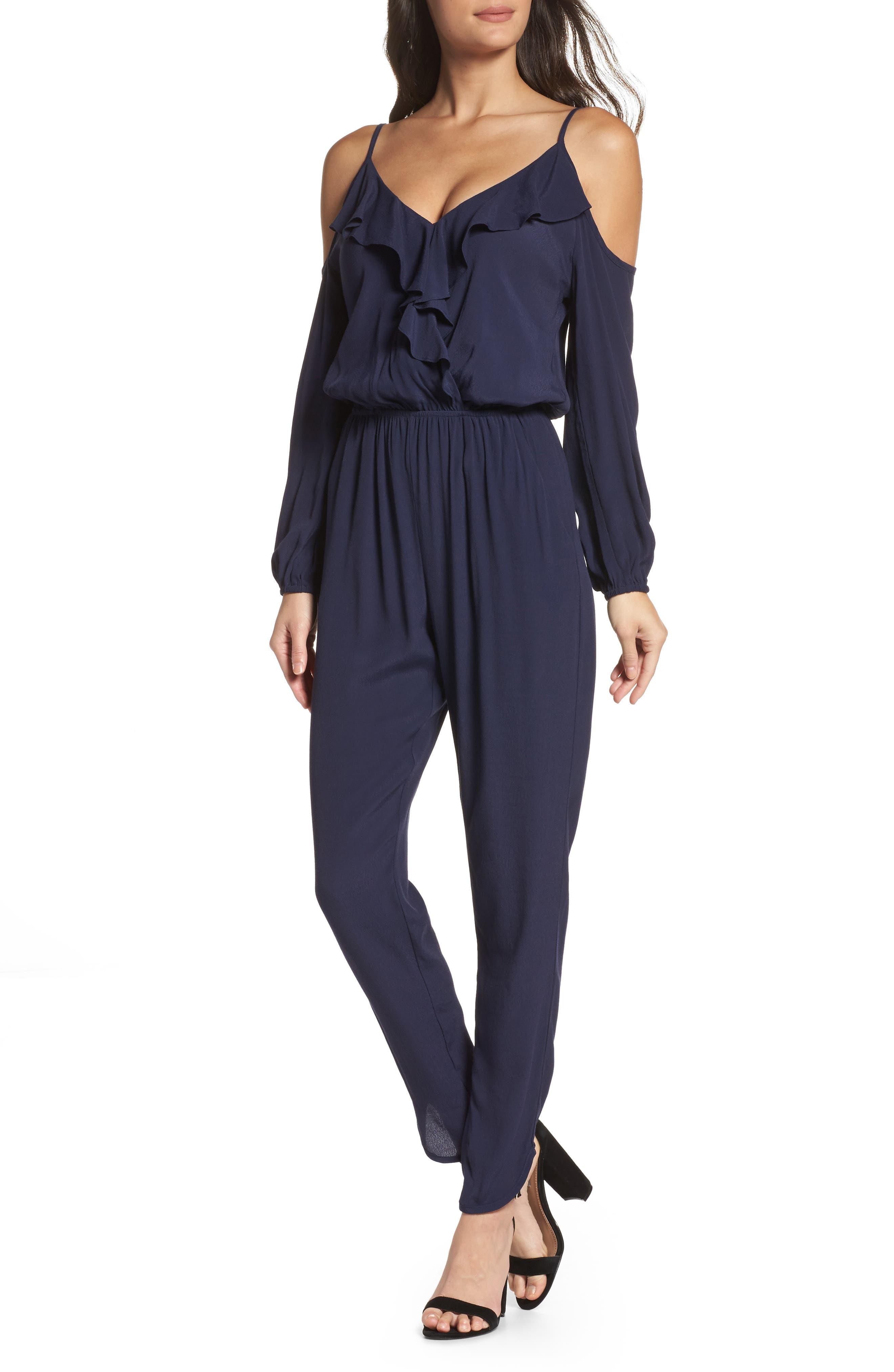 Cold Shoulder Jumpsuit,                         Main,                         color, Navy