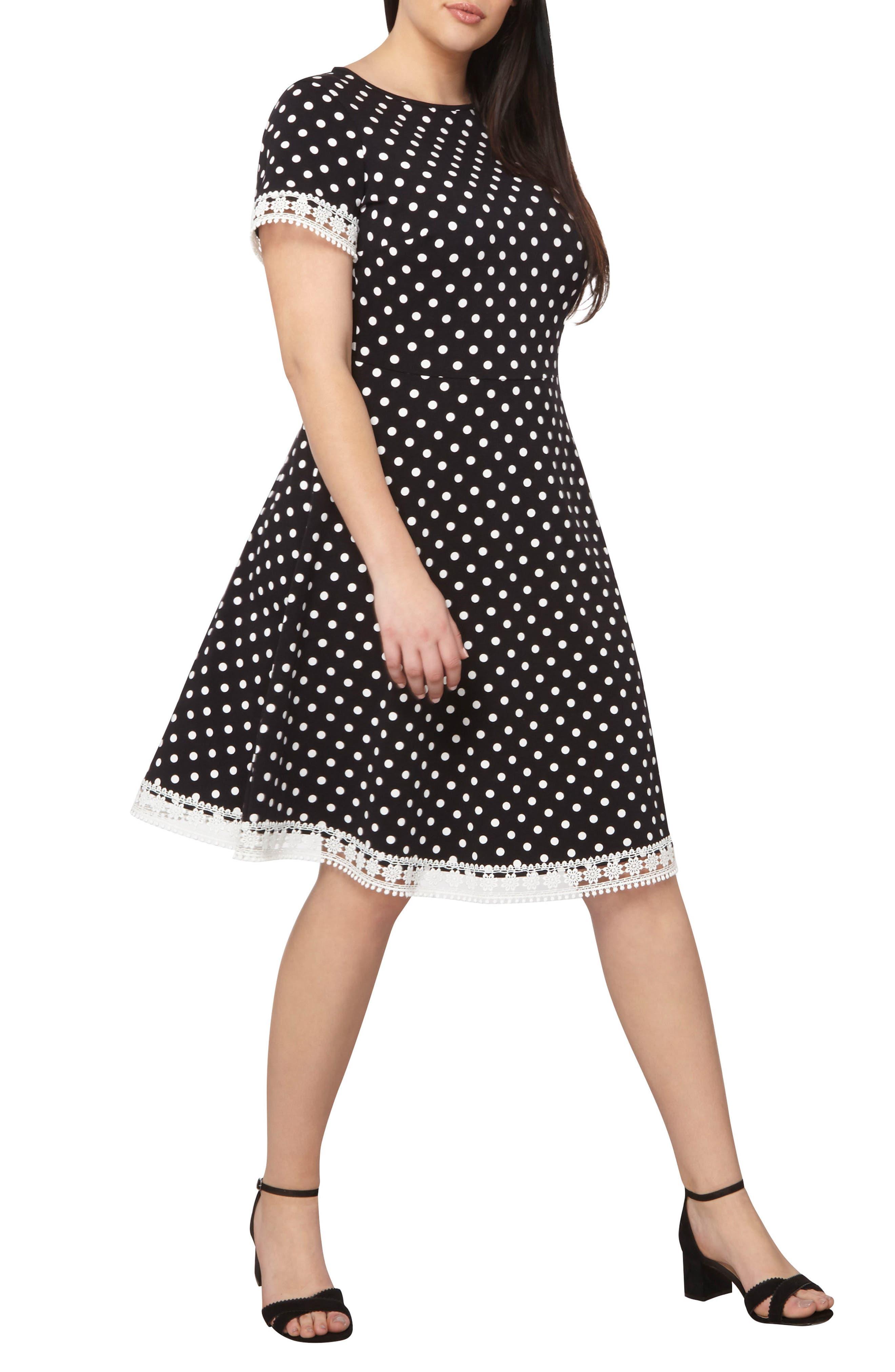 Alternate Image 3  - Dorothy Perkins Polka Dot Fit & Flare Dress (Plus Size)
