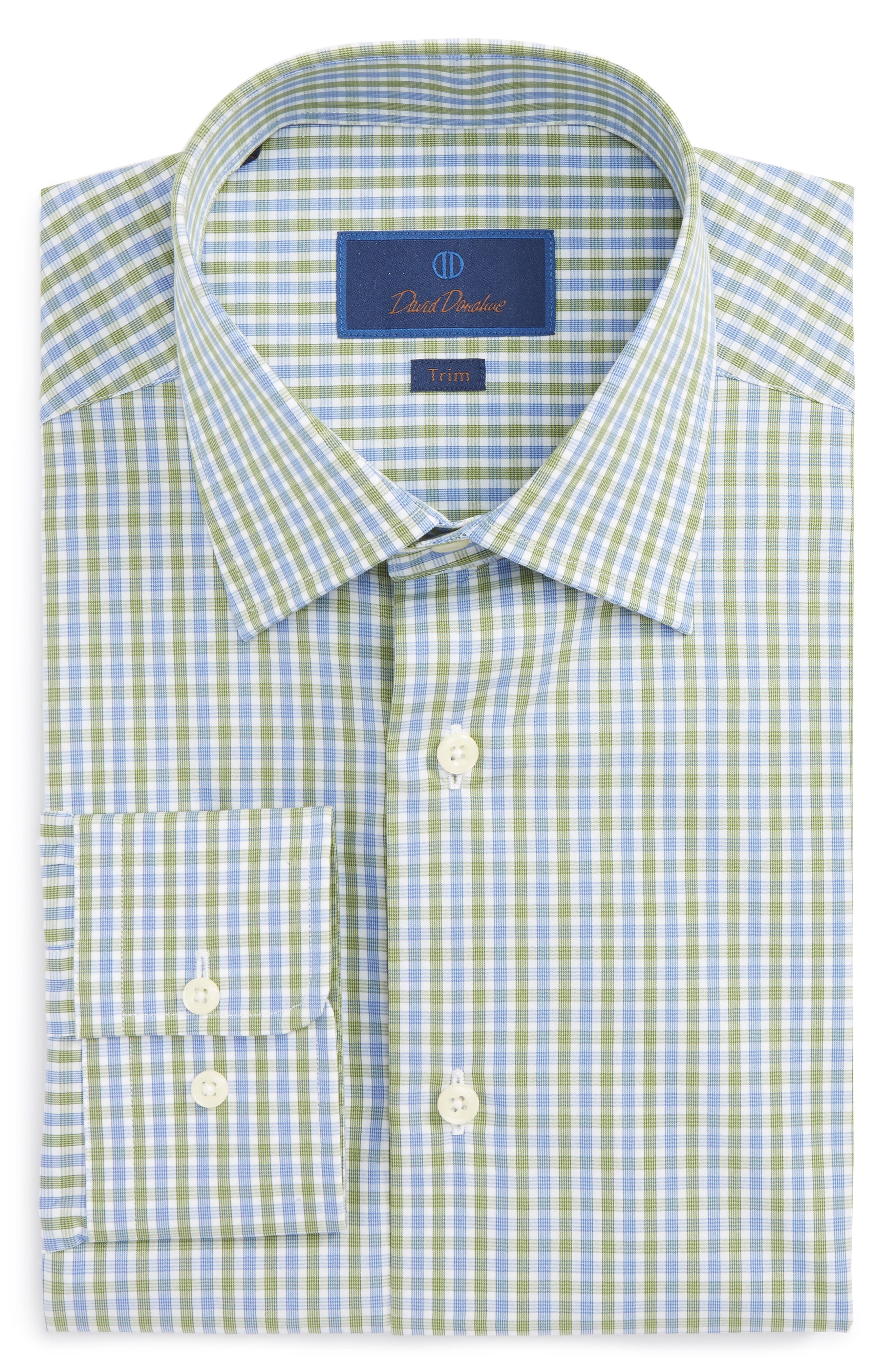 Trim Fit Check Dress Shirt,                             Main thumbnail 1, color,                             Blue/ Green