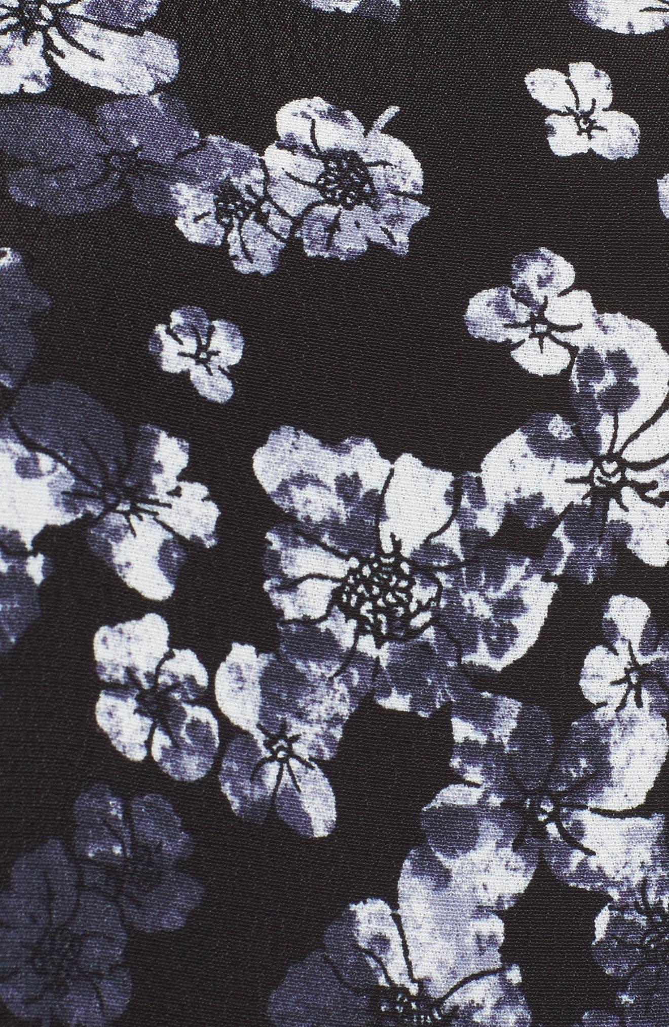 V-Neck Peplum Top,                             Alternate thumbnail 5, color,                             Black- Ivory Holiday Floral