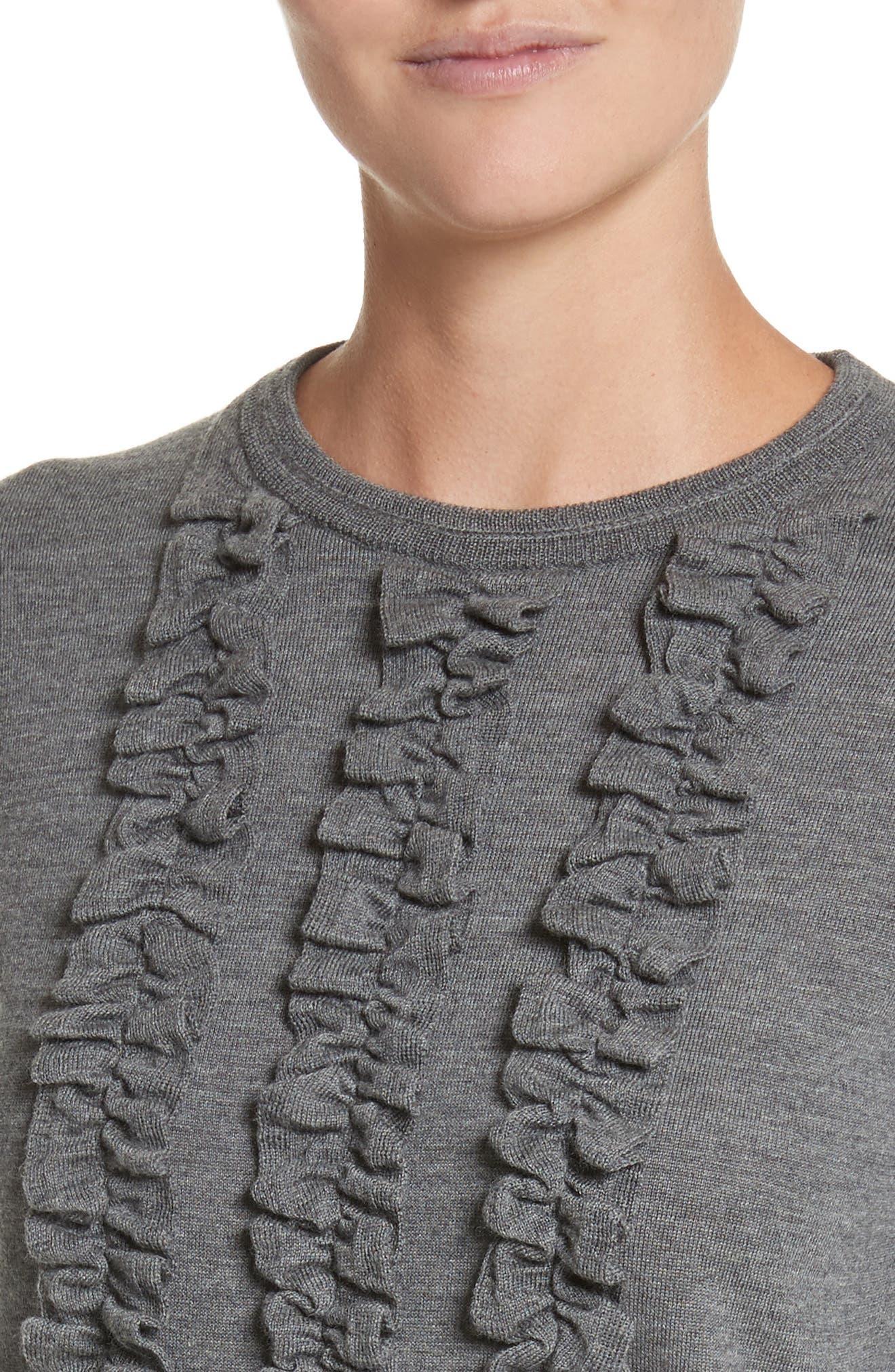 Ruffle Merino Wool Sweater,                             Alternate thumbnail 4, color,                             Dark Grey Melange