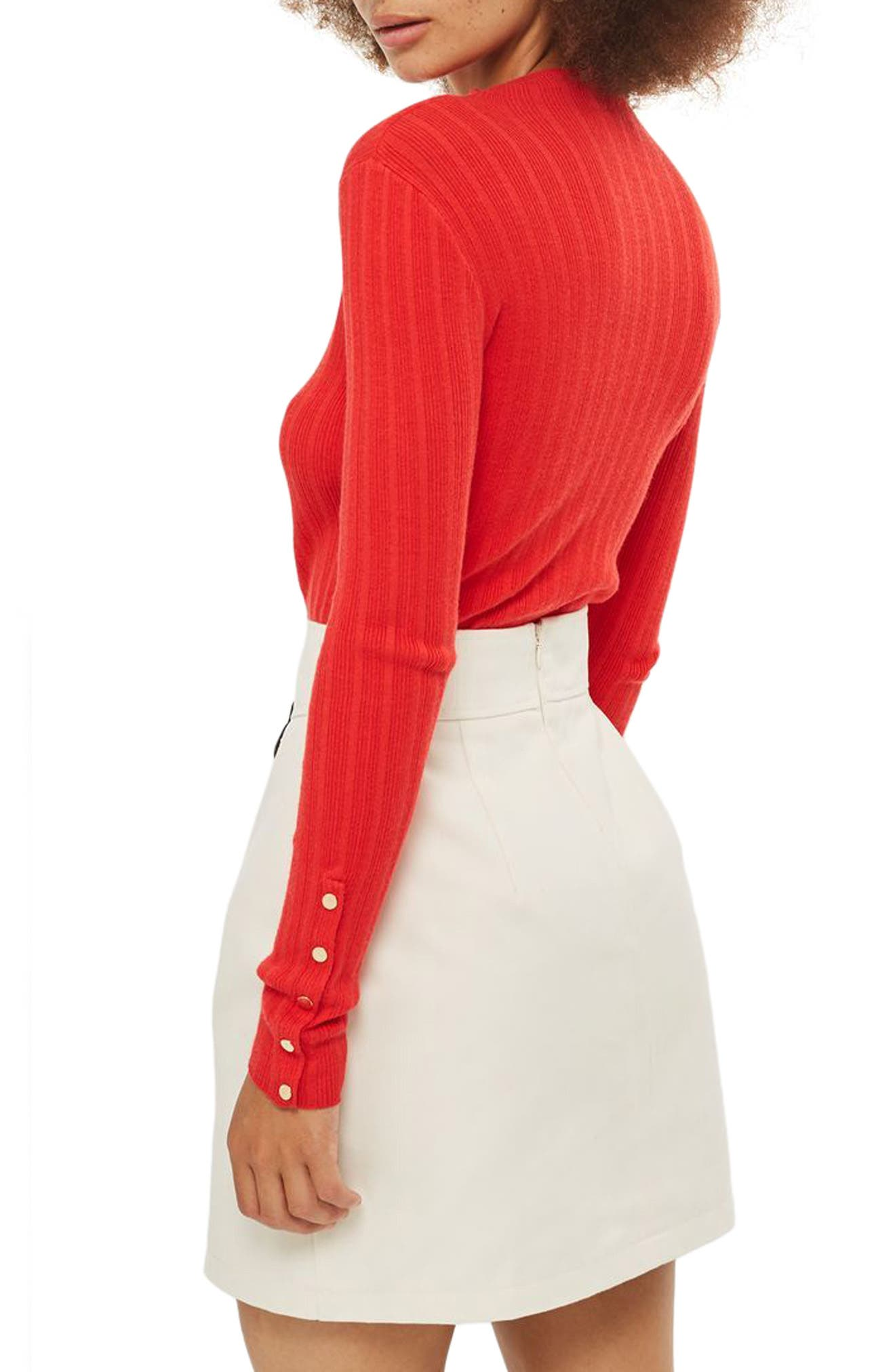 Alternate Image 2  - Topshop Snap Sleeve Ribbed Sweater